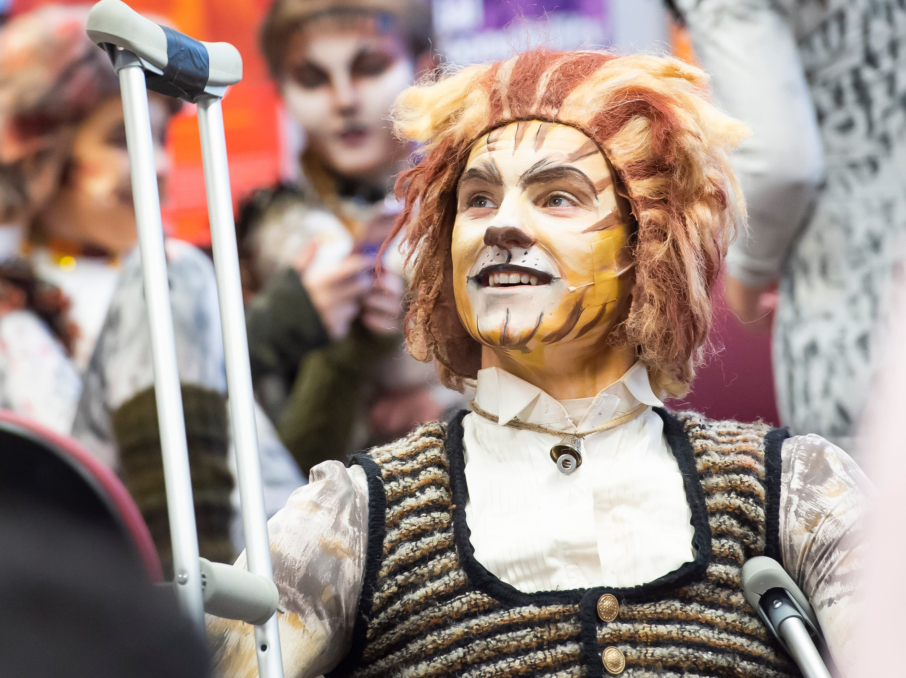 """Sam Duvall waits for the start of a dress rehearsal for the Hanover High School production of the musical """"Cats"""" on Wednesday, April 10, 2019."""