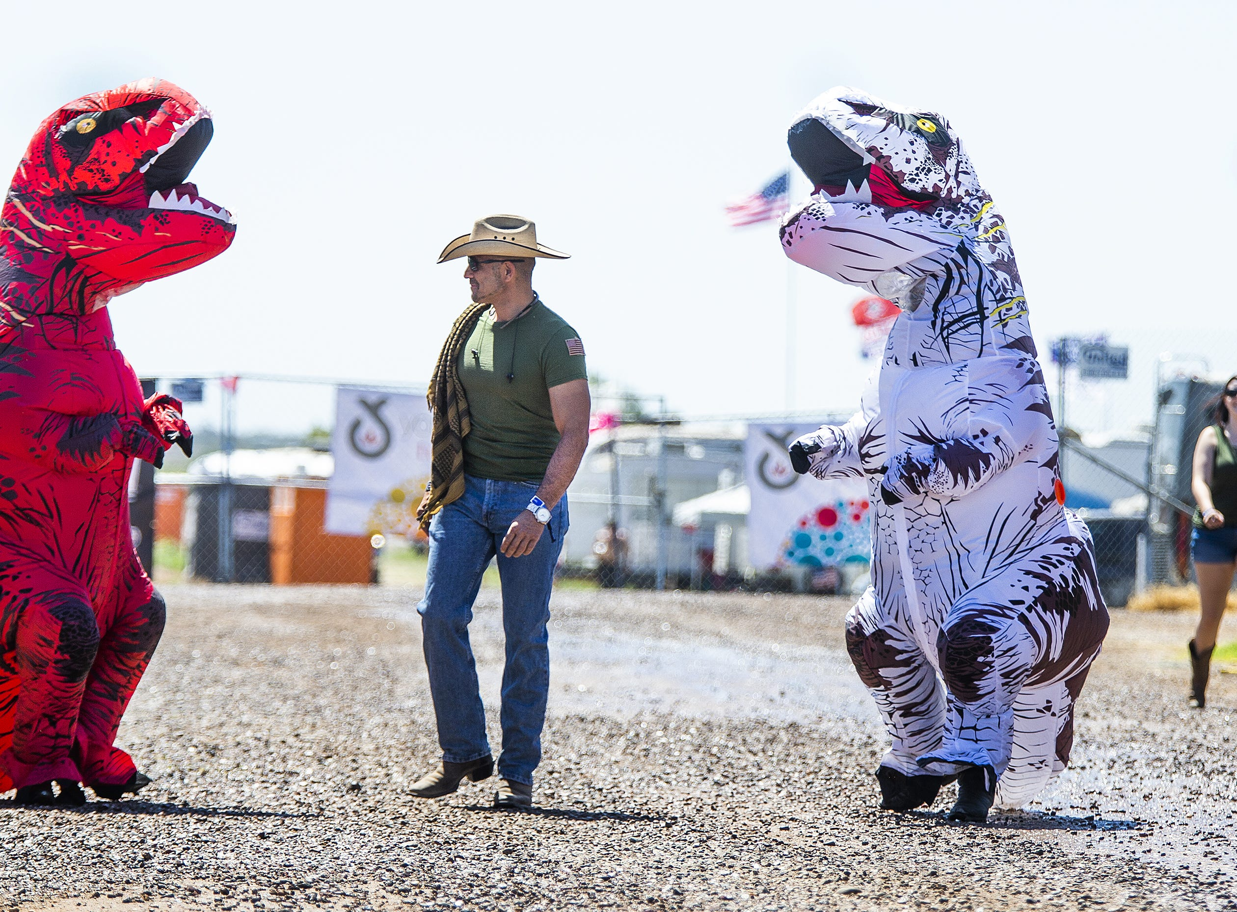Friends from San Tan Valley decided to dress up at the Country Thunder Arizona 2019 music festival April 11, 2019. From left: Nathan Hilliard, Michael Chavez and Keith Ring.