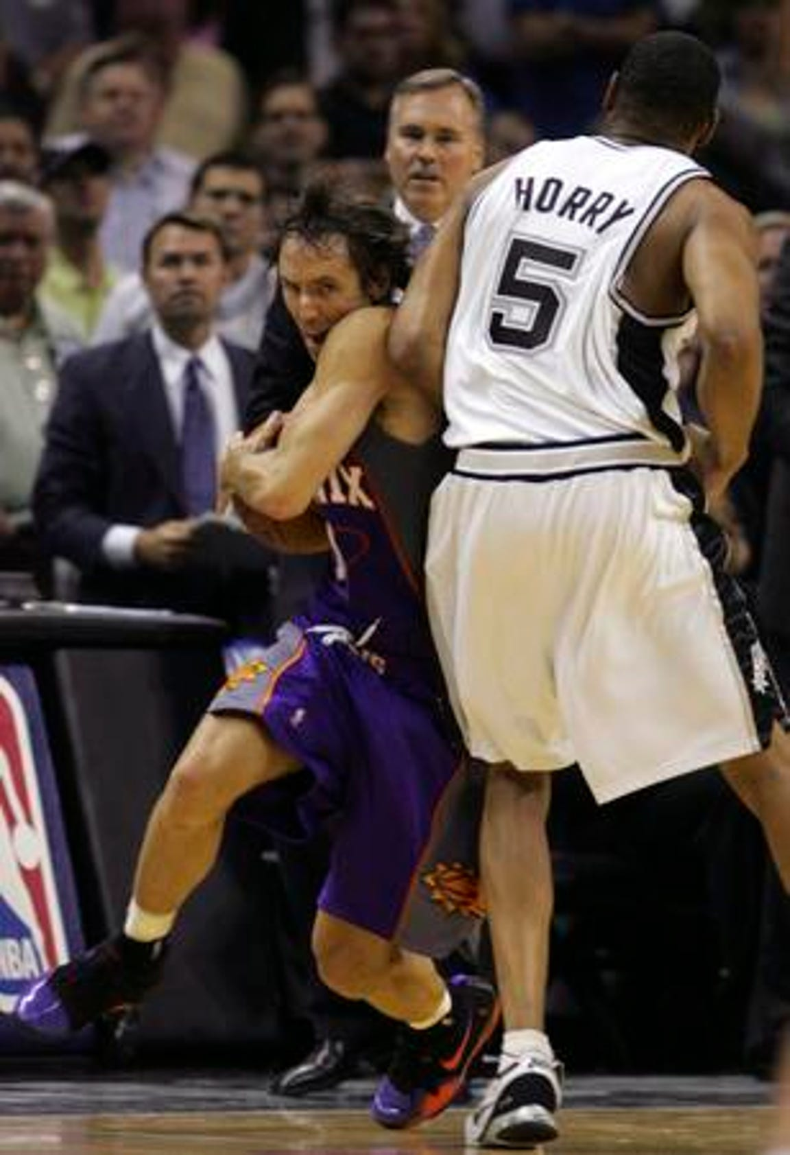 San Antonio Spurs' Robert Horry hip checked Phoenix Suns' Steve Nash during a 2007 playoff game. The resulting fracas resulted in the ejection of two key Suns players and likely cost Phoenix a shot at an NBA title.