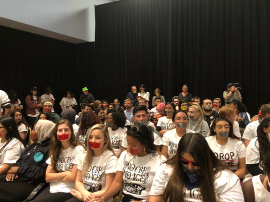 Hundreds of students attend the Arizona Board of Regents meeting in Tucson on April 11, 2019, to protest the charges against three students in the Border Patrol protest on March 19.