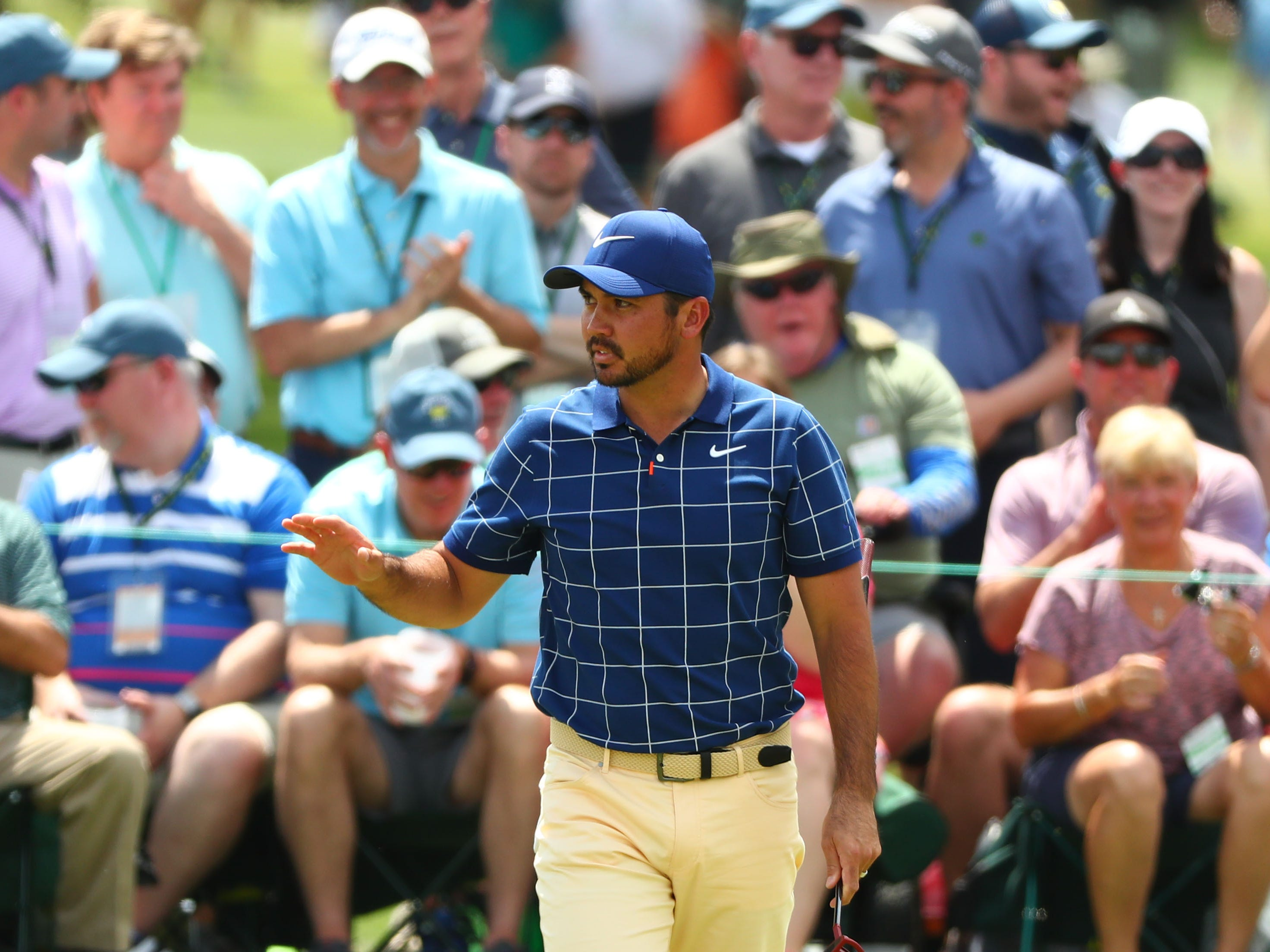 Apr 11, 2019; Augusta, GA, USA; Jason Day after putting on the 2nd green during the first round of The Masters golf tournament at Augusta National Golf Club.