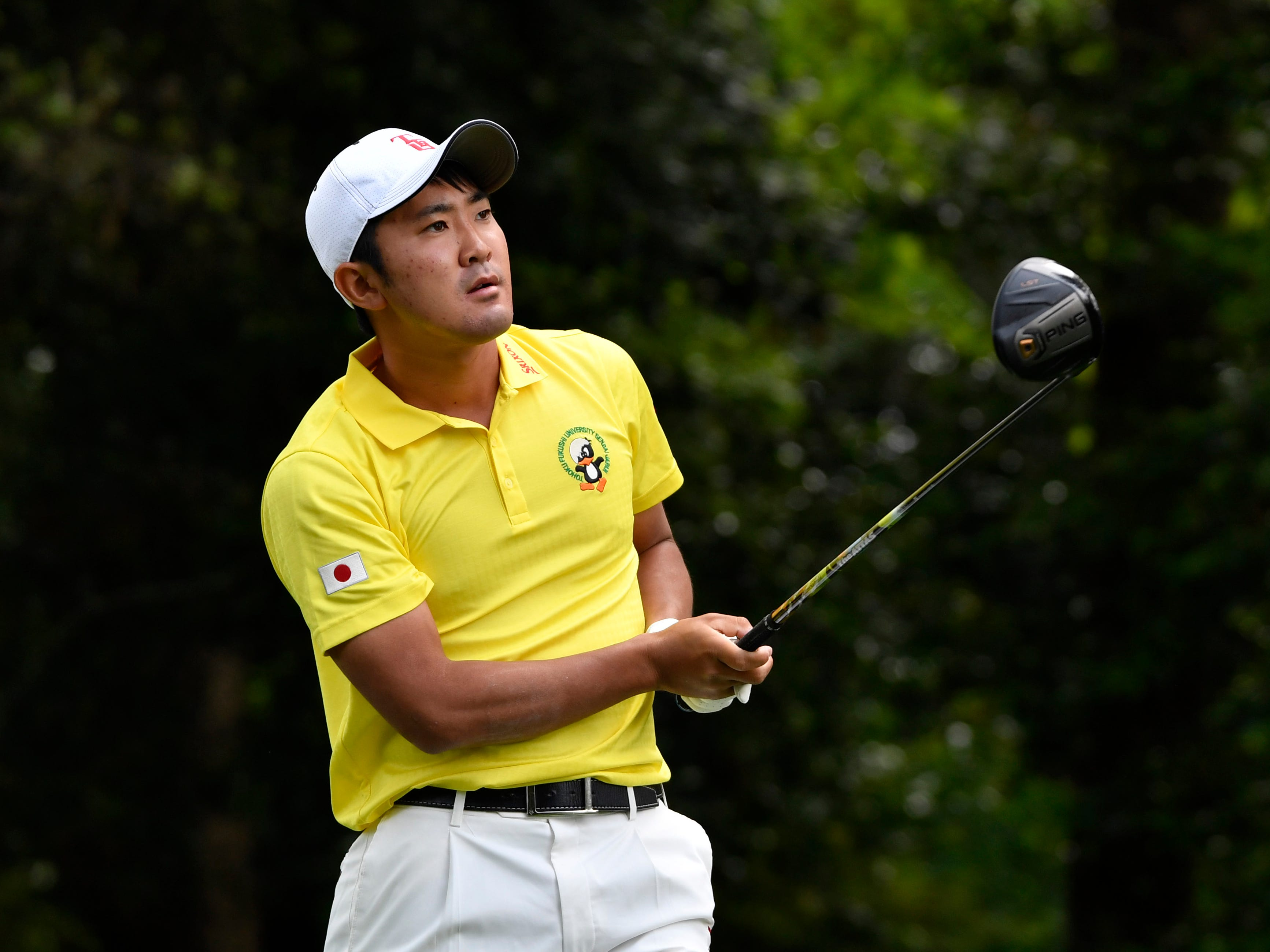Apr 11, 2019; Augusta, GA, USA; Takumi Kanaya hits his tee shot on the 2nd hole during the first round of The Masters golf tournament at Augusta National Golf Club.