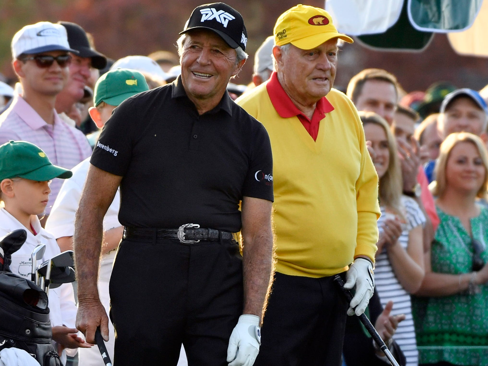 Apr 11, 2019; Augusta, GA, USA; Gary Player (left) and Jack Nicklaus (right) on the 1st tee during the first round of The Masters golf tournament at Augusta National Golf Club.