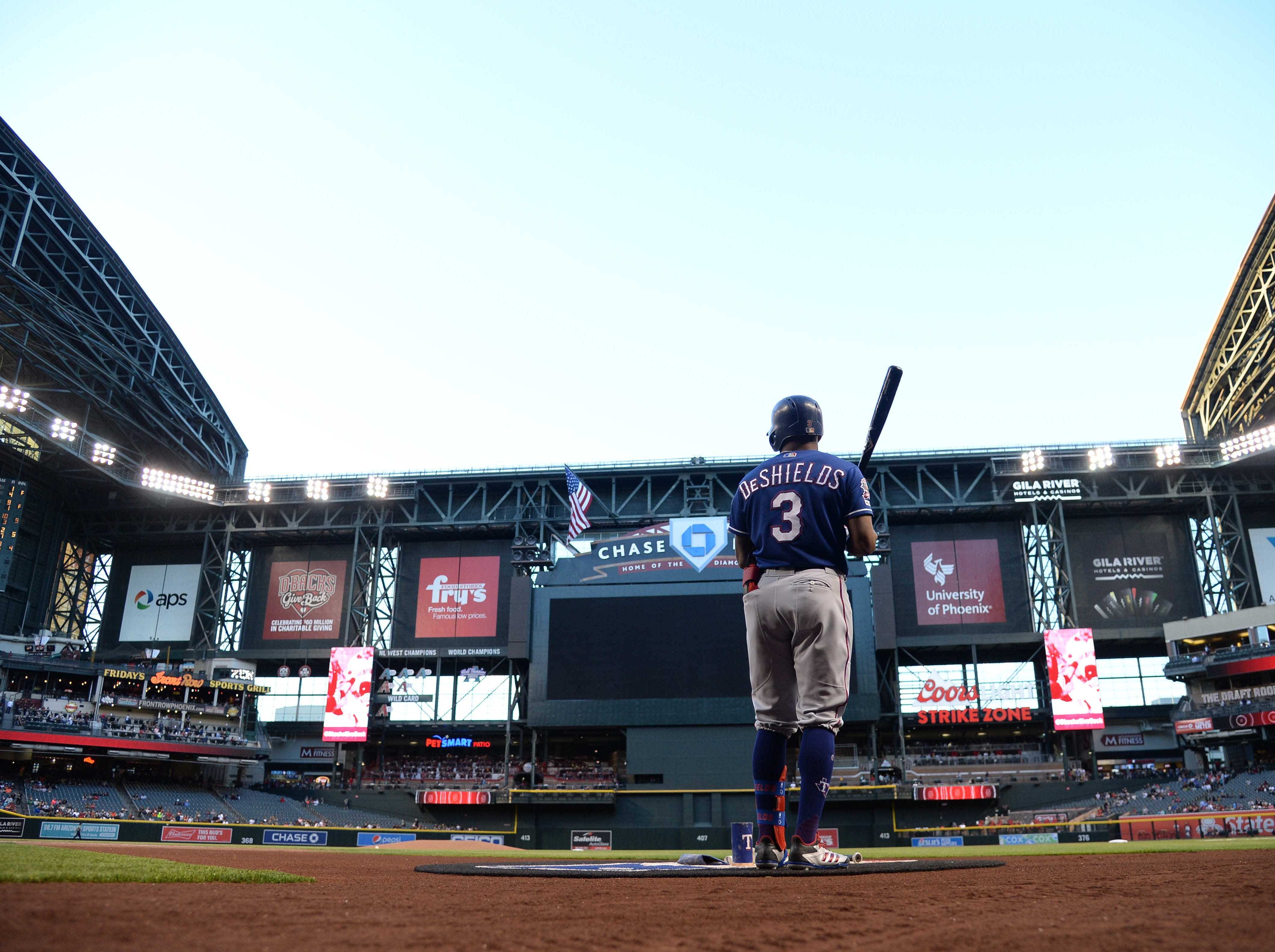 Apr 10, 2019; Phoenix, AZ, USA; Texas Rangers left fielder Delino DeShields (3) waits on deck prior to the first inning against the Arizona Diamondbacks at Chase Field. Mandatory Credit: Joe Camporeale-USA TODAY Sports