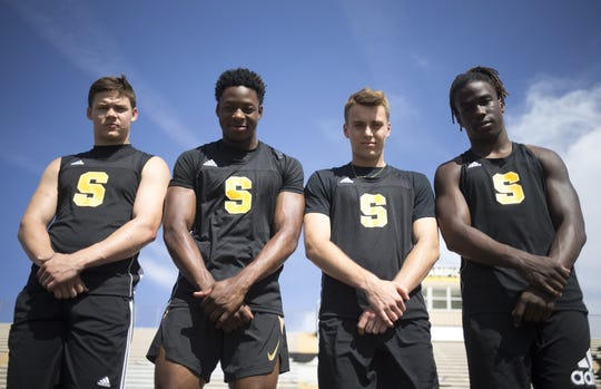 From left, 4x100 relay team members: Connor Soelle, Jacobe Covington, Mason Davies, and Kelee Ringo, April 9, 2019, at Saguaro High School, 6250 N 82nd Street, Scottsdale.