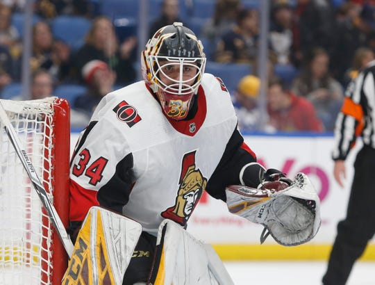 Five days after playing Arizona State's NCAA Tournament debut, goalie Joey Daccord made his NHL debut for the Ottawa Senators, wearing his ASU mask and pads.