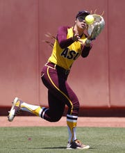 Arizona State outfielder Morgan Howe (47) catches a fly ball from Oregon hitter DJ Sanders (37) during Pac-12 play at Farrington Stadium in Tempe, Ariz. April 15, 2018.
