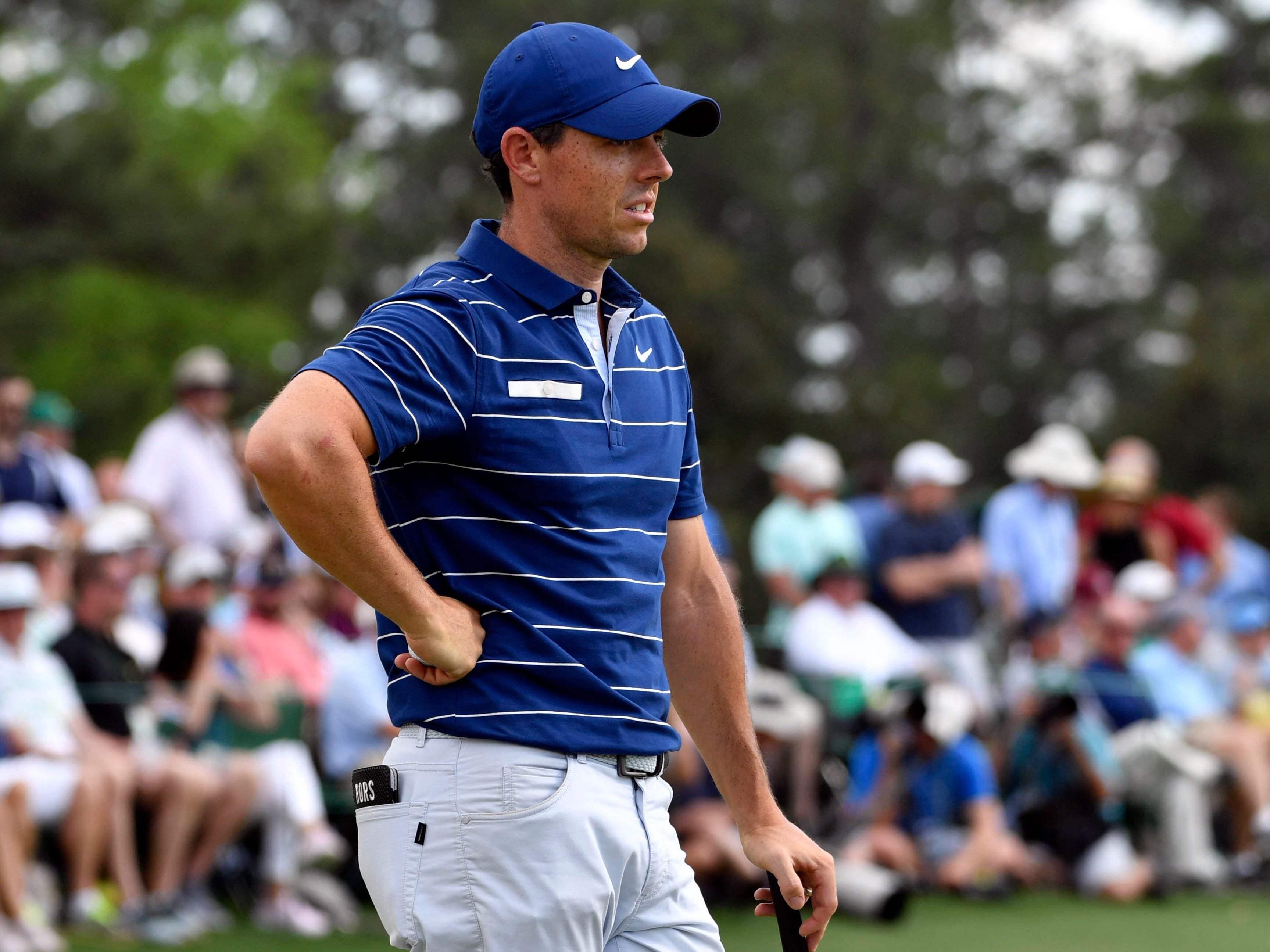 Apr 11, 2019; Augusta, GA, USA; Rory McIlroy on the 18th green during the first round of The Masters golf tournament at Augusta National Golf Club.