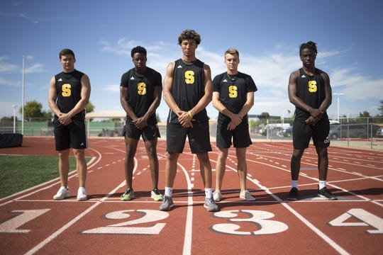 From left, 4x100 relay team members: Connor Soelle, Jacobe Covington, Matt polk, Mason Davies, and Kelee Ringo, April 9, 2019, at Saguaro High School, 6250 N 82nd Street, Scottsdale.