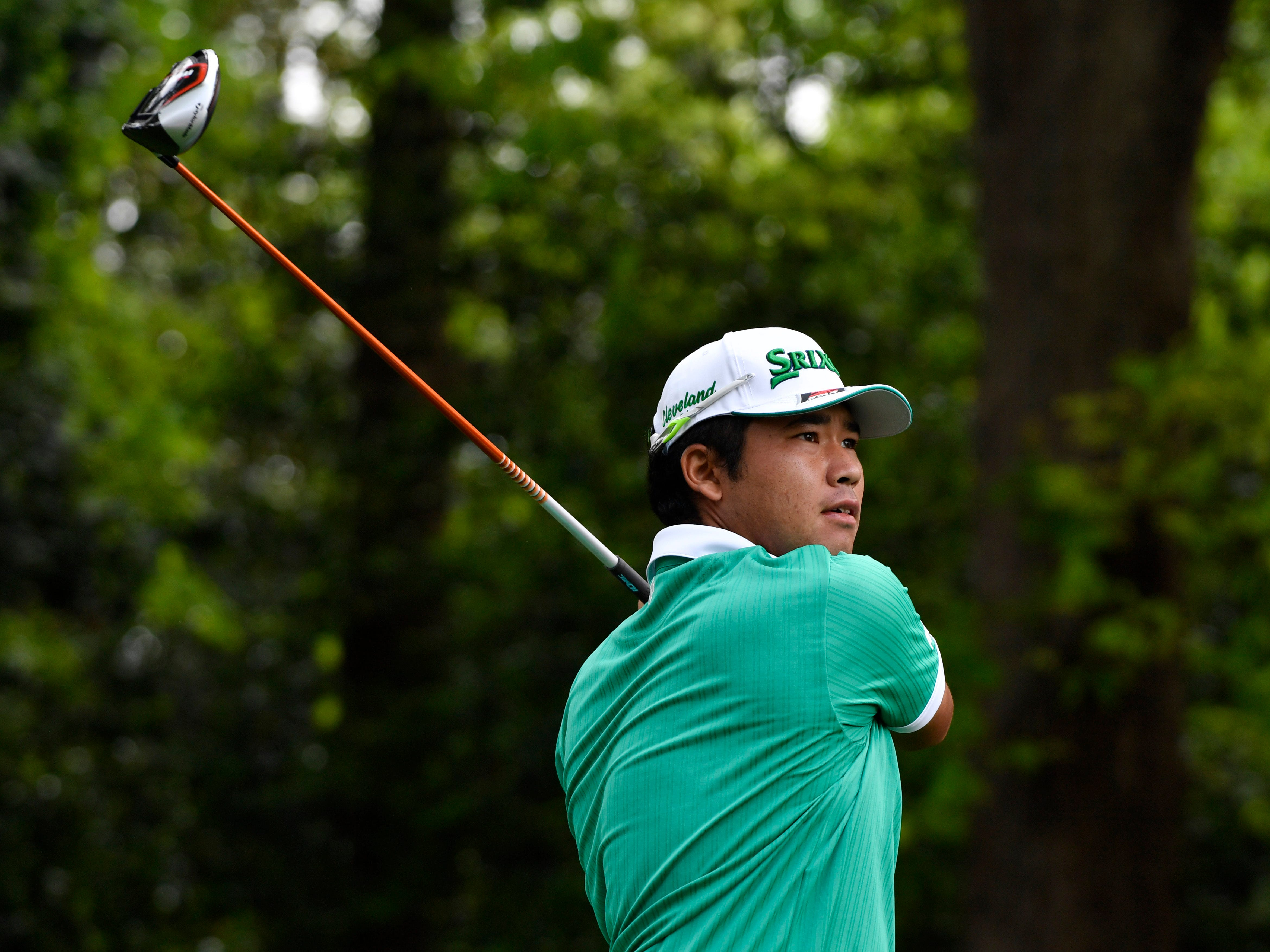 Apr 11, 2019; Augusta, GA, USA; Hideki Matsuyama hits his tee shot on the 2nd hole during the first round of The Masters golf tournament at Augusta National Golf Club.