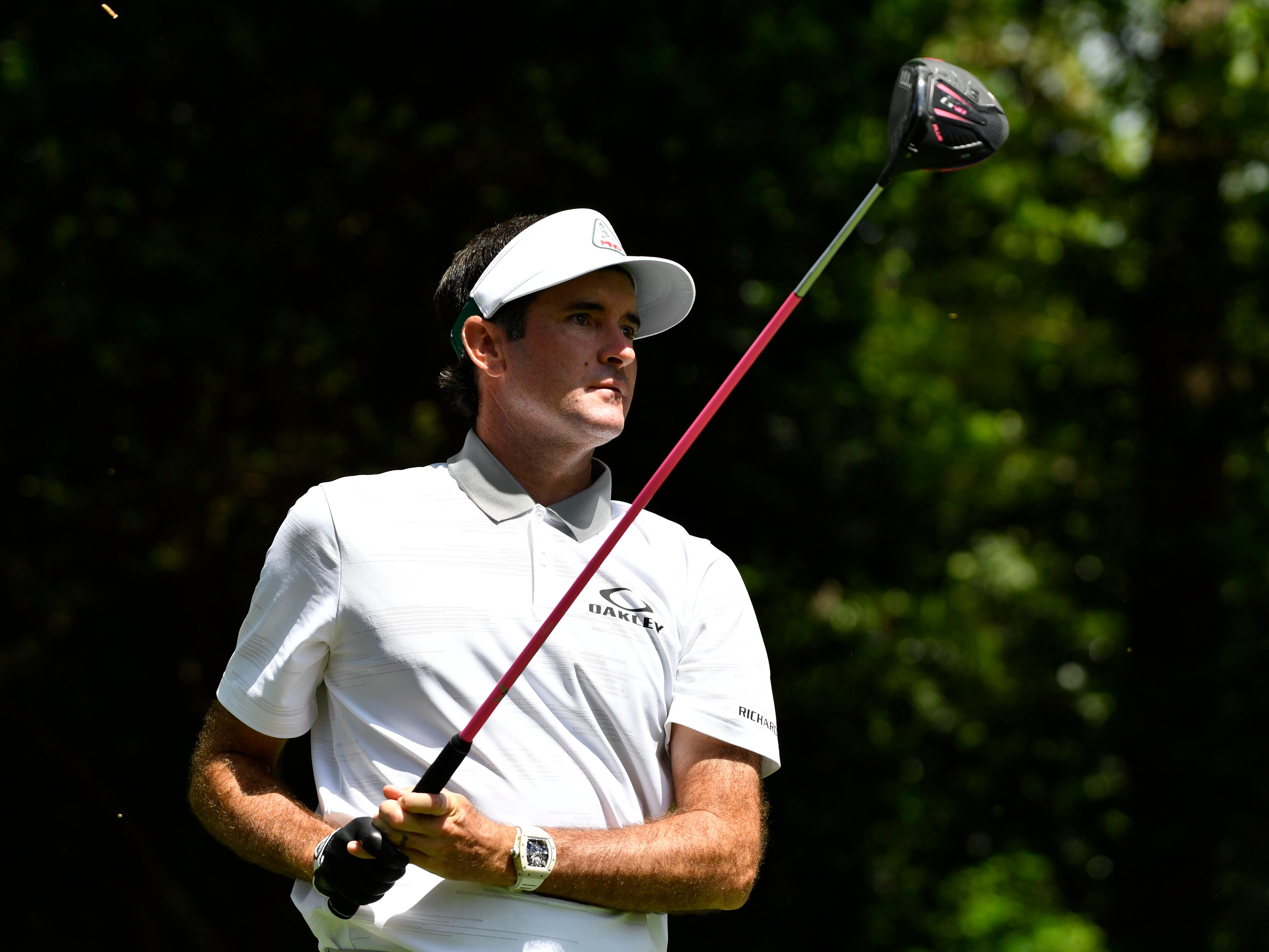 Apr 11, 2019; Augusta, GA, USA; Bubba Watson hits his tee shot on the 2nd hole during the first round of The Masters golf tournament at Augusta National Golf Club.
