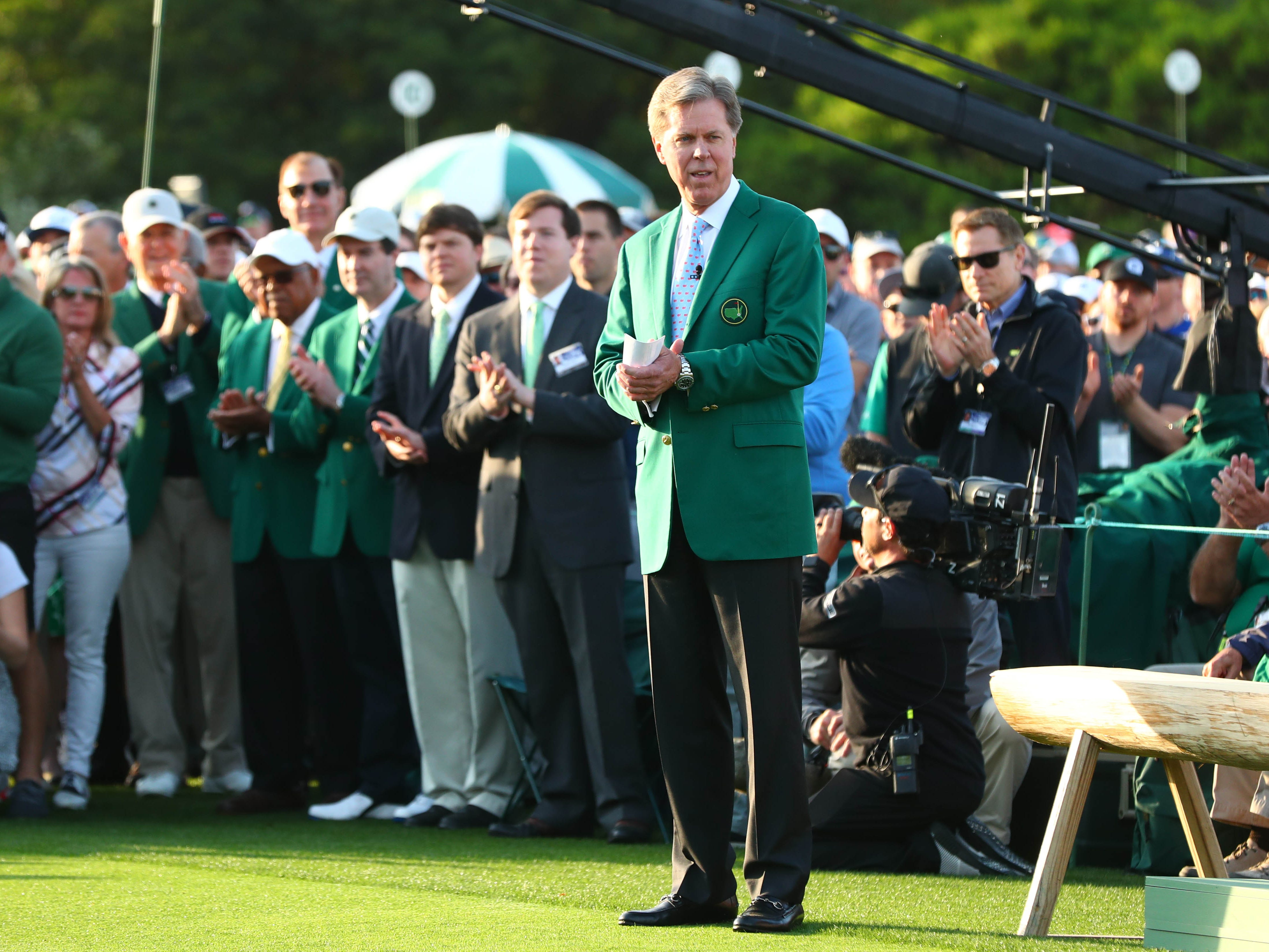 Apr 11, 2019; Augusta, GA, USA; Augusta National chairman Fred Ridley speaks on the first tee during the first round of The Masters golf tournament at Augusta National Golf Club.