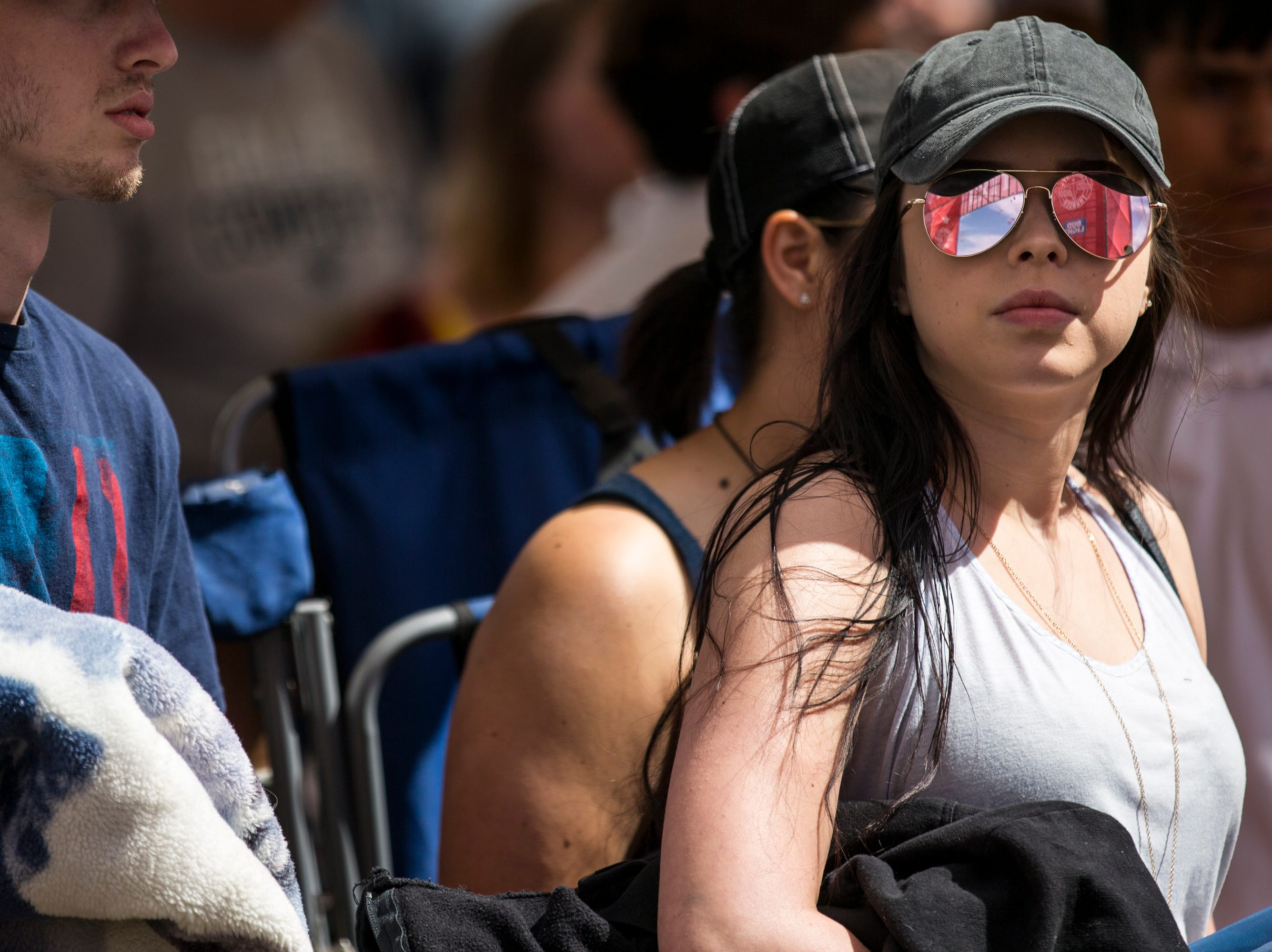 Antonette Faulks waits in line at the entrance on April 11, 2019, during Day 1 of Country Thunder Arizona in Florence.