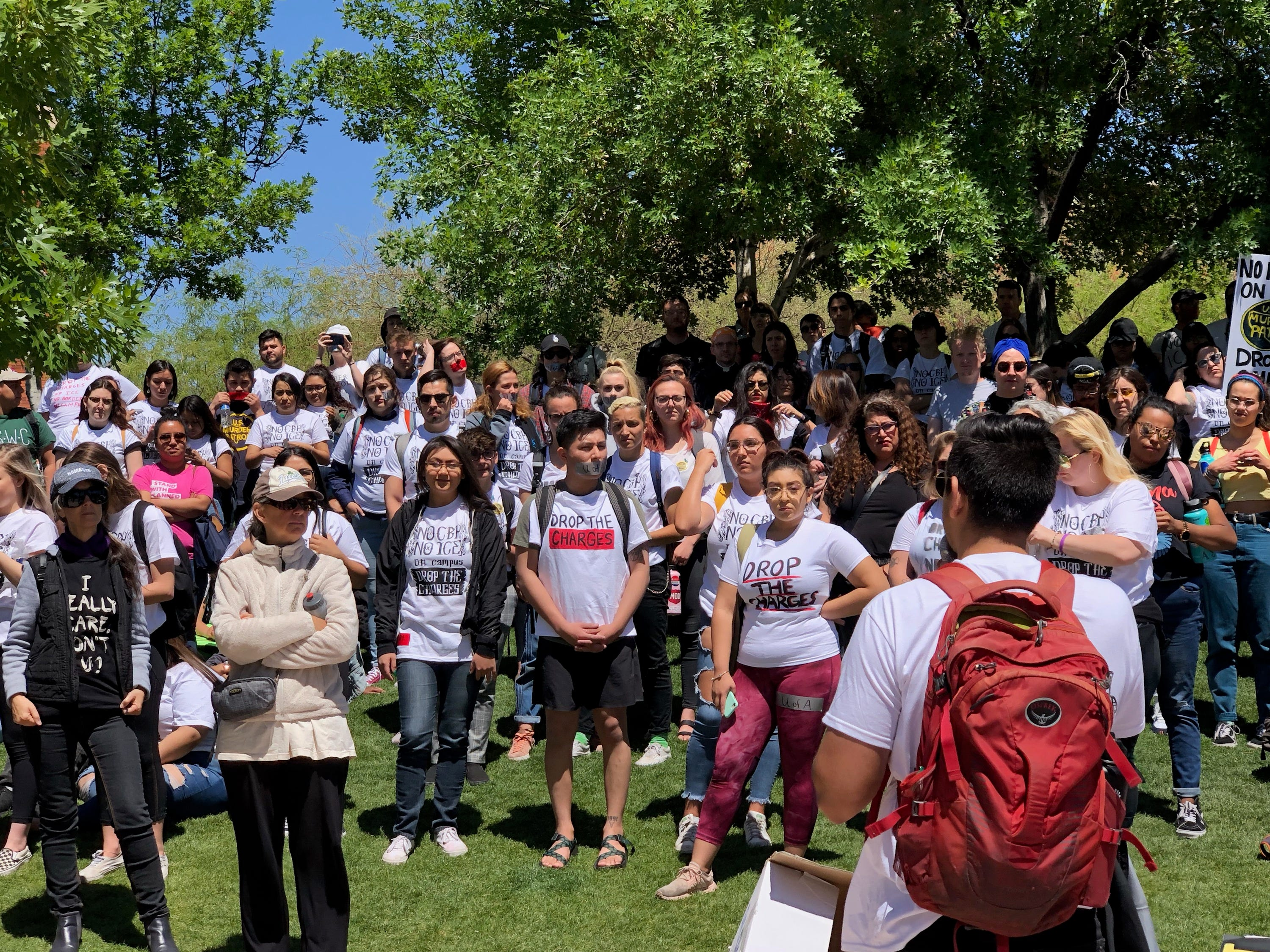 Hundreds of students attend the Arizona Board of Regents meeting in Tucson on April 11, 2019, to protest the charges against three students in the Border Patrol protest March 19.
