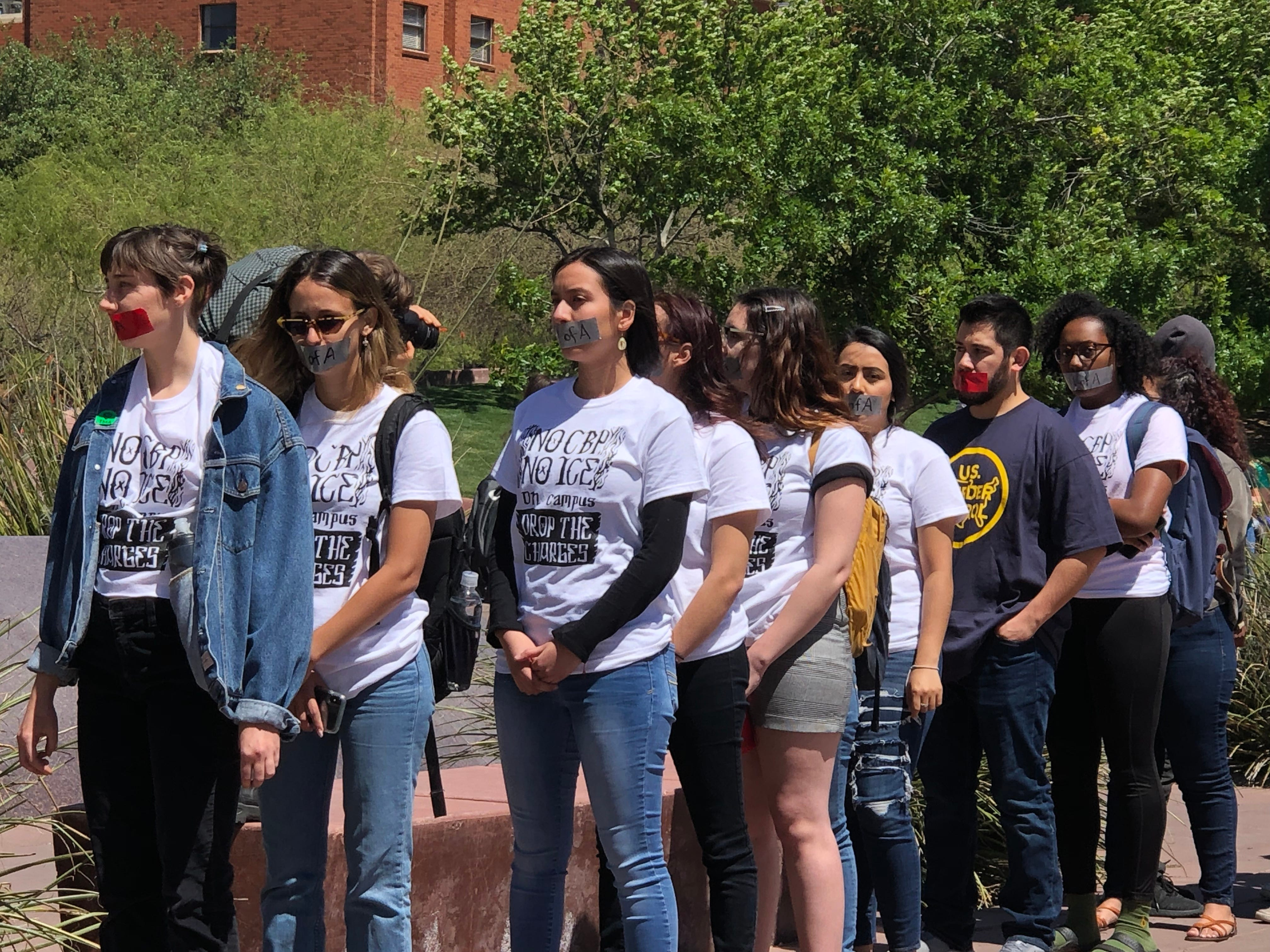 Students wait in line to get into the Arizona Board of Regents meeting in Tucson on April 11, 2019, to protest the charges against three students in the Border Patrol protest on March 19.