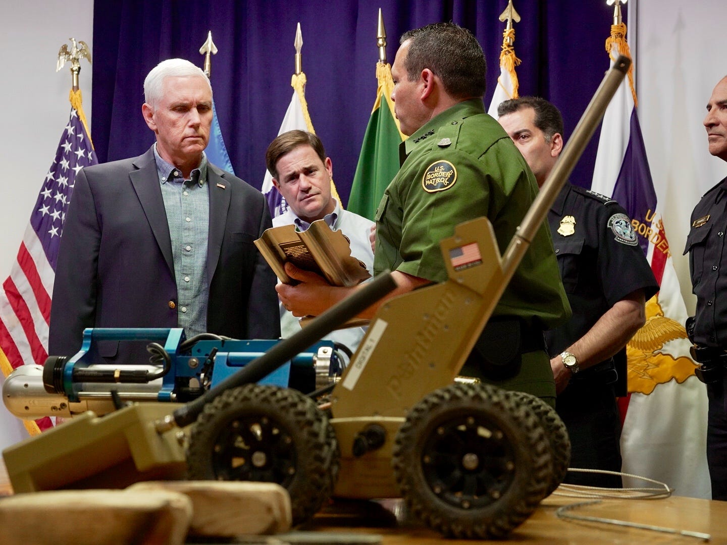 Vice President Mike Pence makes his second visit to Arizona in 2 months on April 11, 2019, to meet with border officials and tour sections of the border fence in Nogales. He is joined by Arizona Gov. Doug Ducey and Border Patrol officials.