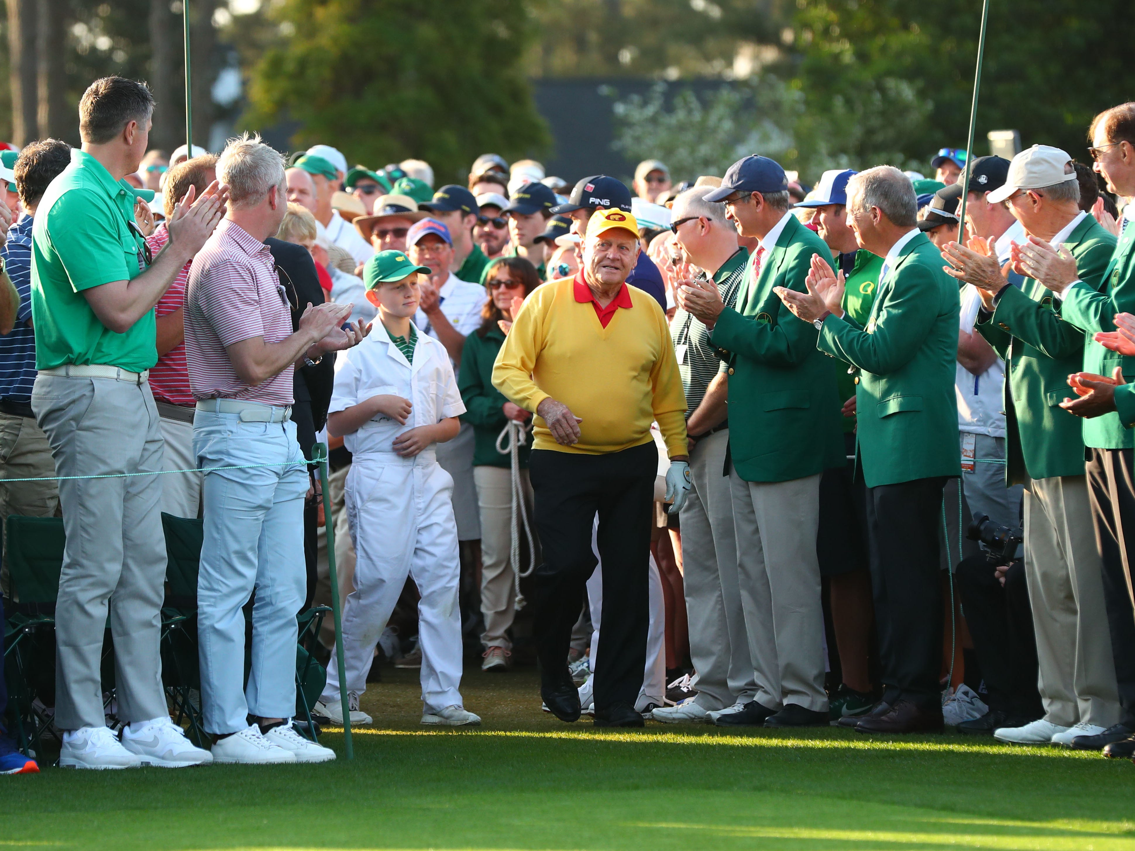 Apr 11, 2019; Augusta, GA, USA; Honorary starter Jack Nicklaus walks to the first tee during the first round of The Masters golf tournament at Augusta National Golf Club.