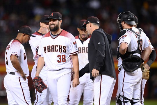 Diamondbacks pitcher Robbie Ray exits a game against the Rangers in the sixth inning of a game April 10 at Chase Field.
