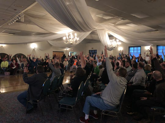 A majority of Lebanon-area residents raise their hands in favor of legalizing weed at a marijuana listening tour event on Wednesday.