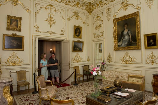 Visitors tour the boudoir of Ruth and Ogden Mills's elegantly designed bedroom suite, which closely resembles Benjamin Guggenheim's stateroom aboard the Titanic. Special tours at Staatsburgh State Historic Site start April 13.