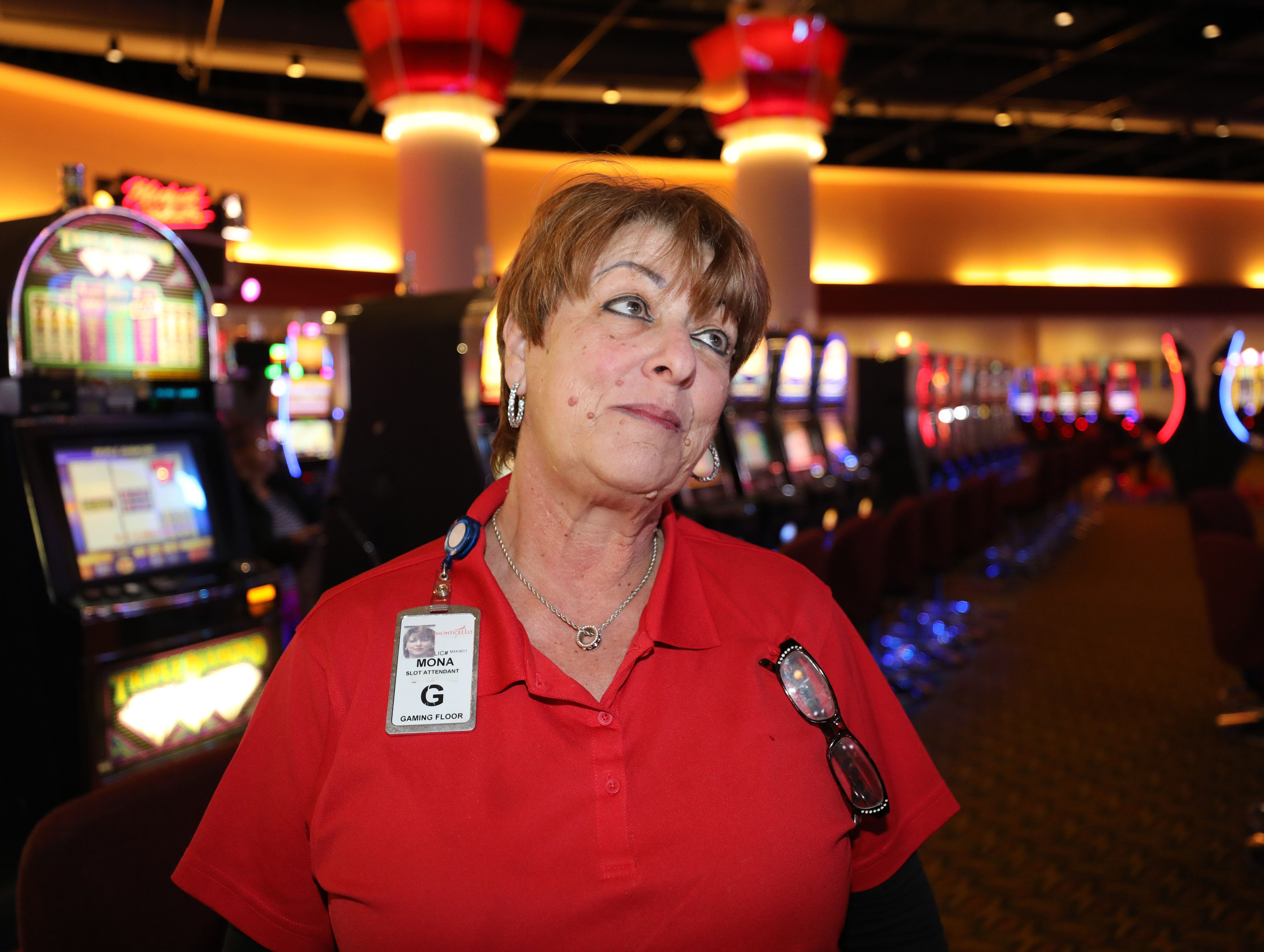 Mona Karasik a slot attendant, talks about the imminent closing of the casino at the Monticello Casino Raceway in Monticello, April 10, 2019.