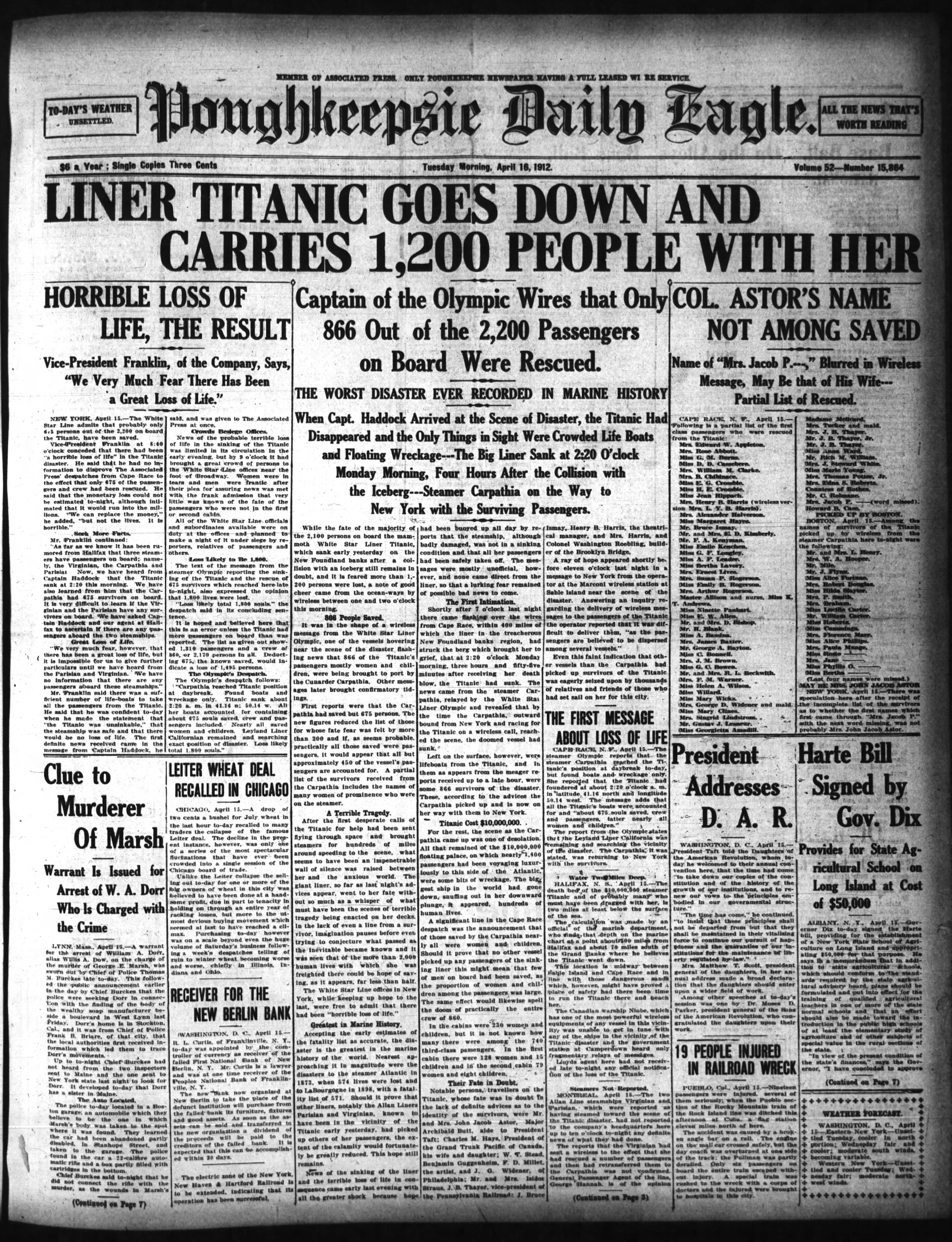 The Poughkeepsie Daily Eagle, a precursor to the Poughkeepsie Journal, reports on the tragic sinking of the Titanic.