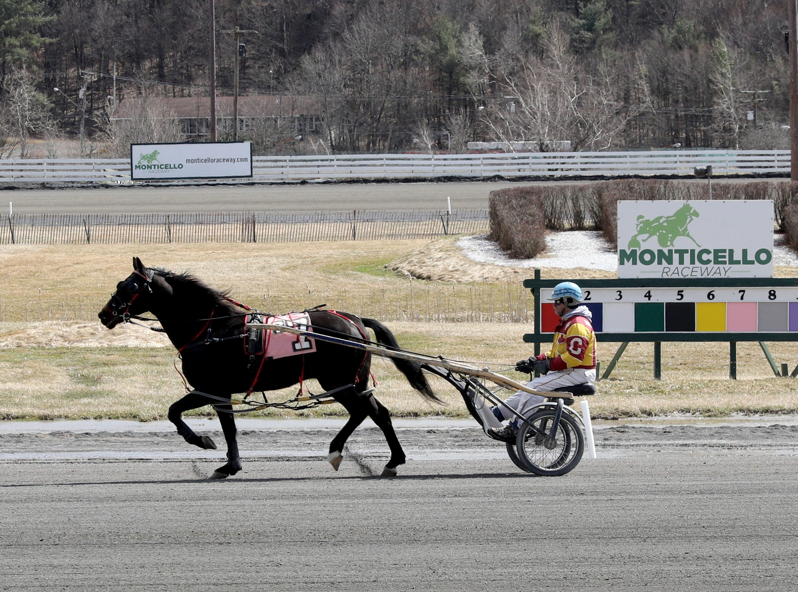 Harness racers warm-up their horses before a race at the Monticello Casino Raceway in Monticello, April 10, 2019.