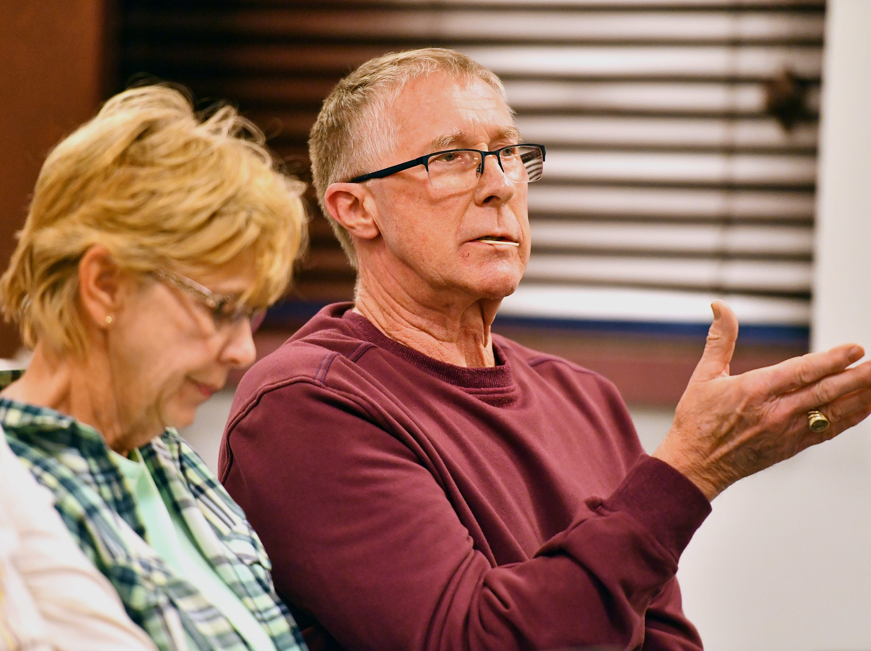 Dottie Stermer, left, listens as Larry Lehman, both of North Codorus Township, speaks during the public comment portion of Southwestern Regional Police Department's monthly board meeting at the station in Heidelberg Township, Wednesday, April 10, 2019. Dawn J. Sagert photo