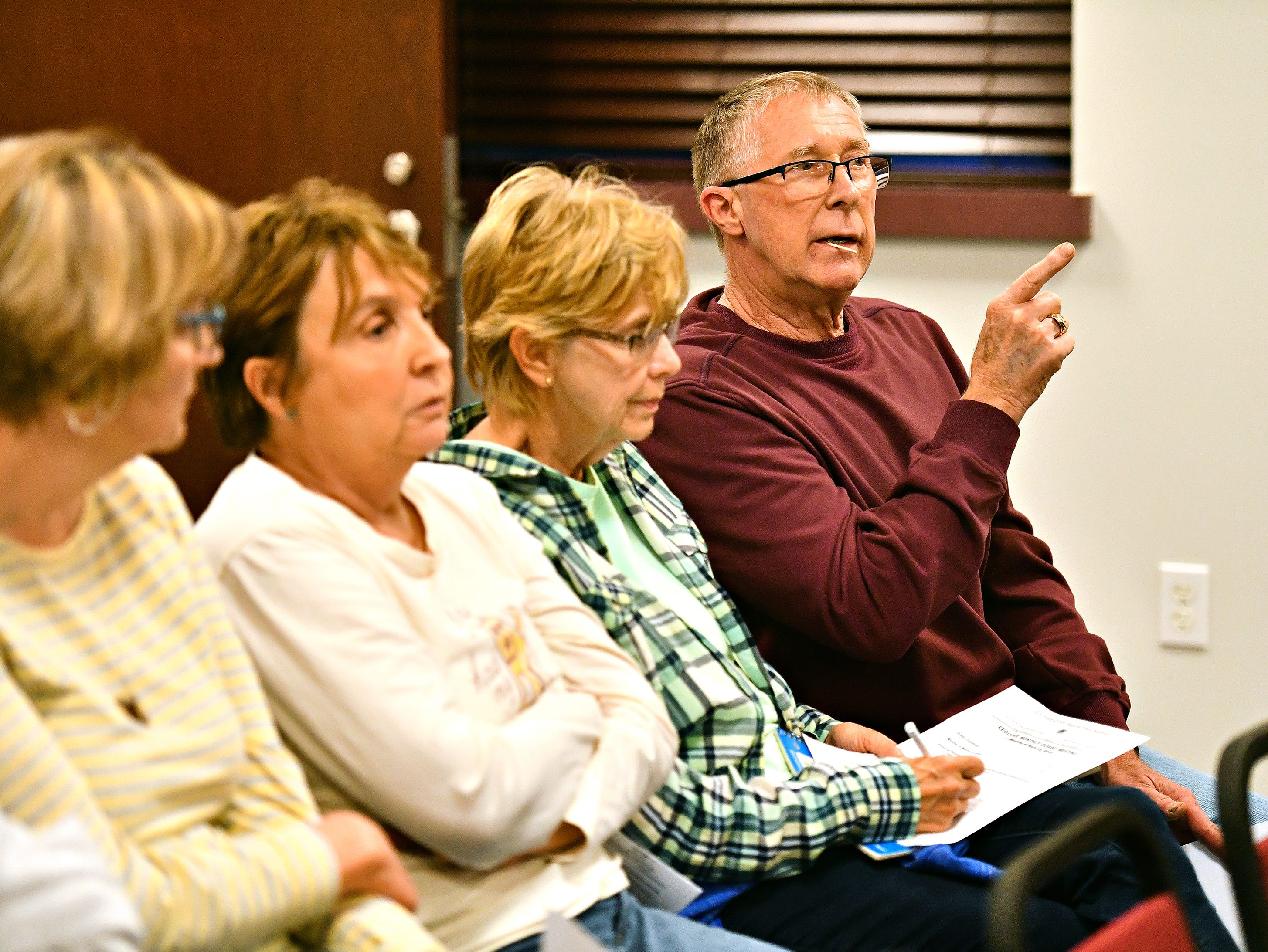Larry Lehman, of North Codorus Township, speaks during the public comment portion of Southwestern Regional Police Department's monthly board meeting at the station in Heidelberg Township, Wednesday, April 10, 2019. Dawn J. Sagert photo