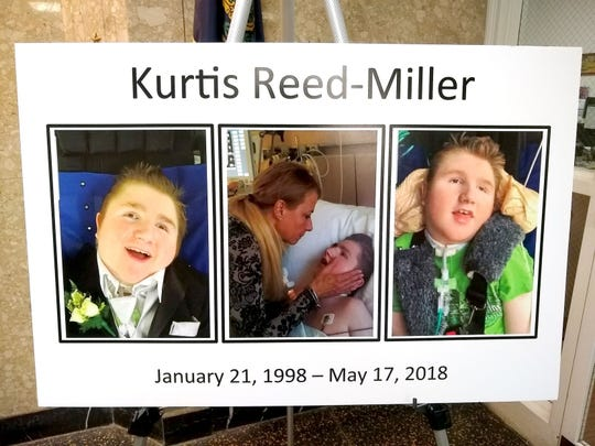 Photo compilation of Kurtis Reed-Miller displayed at a press conference by the Cumberland County District Attorney's Office in April 2019.