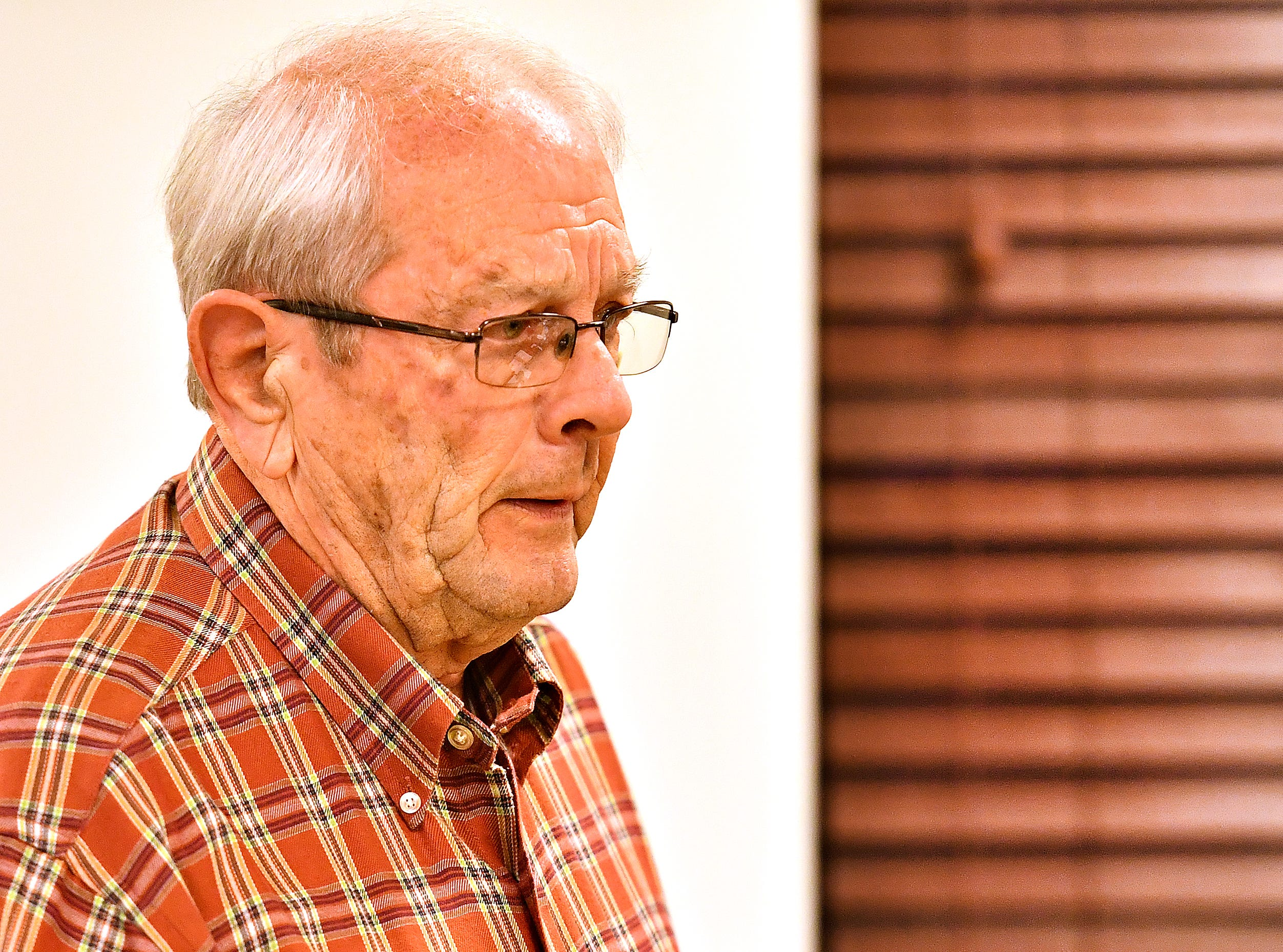 John Robert, of North Codorus Township, speaks during public comment at the Southwestern Regional Police Department's monthly board meeting at the station in Heidelberg Township, Wednesday, April 10, 2019. Dawn J. Sagert photo