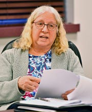 Board Member Beverly Hilt speaks during the Southwestern Regional Police Department's monthly board meeting at the station in Heidelberg Township, Wednesday, April 10, 2019. Dawn J. Sagert photo