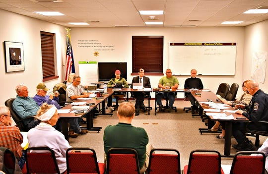 Southwestern Regional Police Department's monthly board meeting at the station in Heidelberg Township, Wednesday, April 10, 2019. Dawn J. Sagert photo