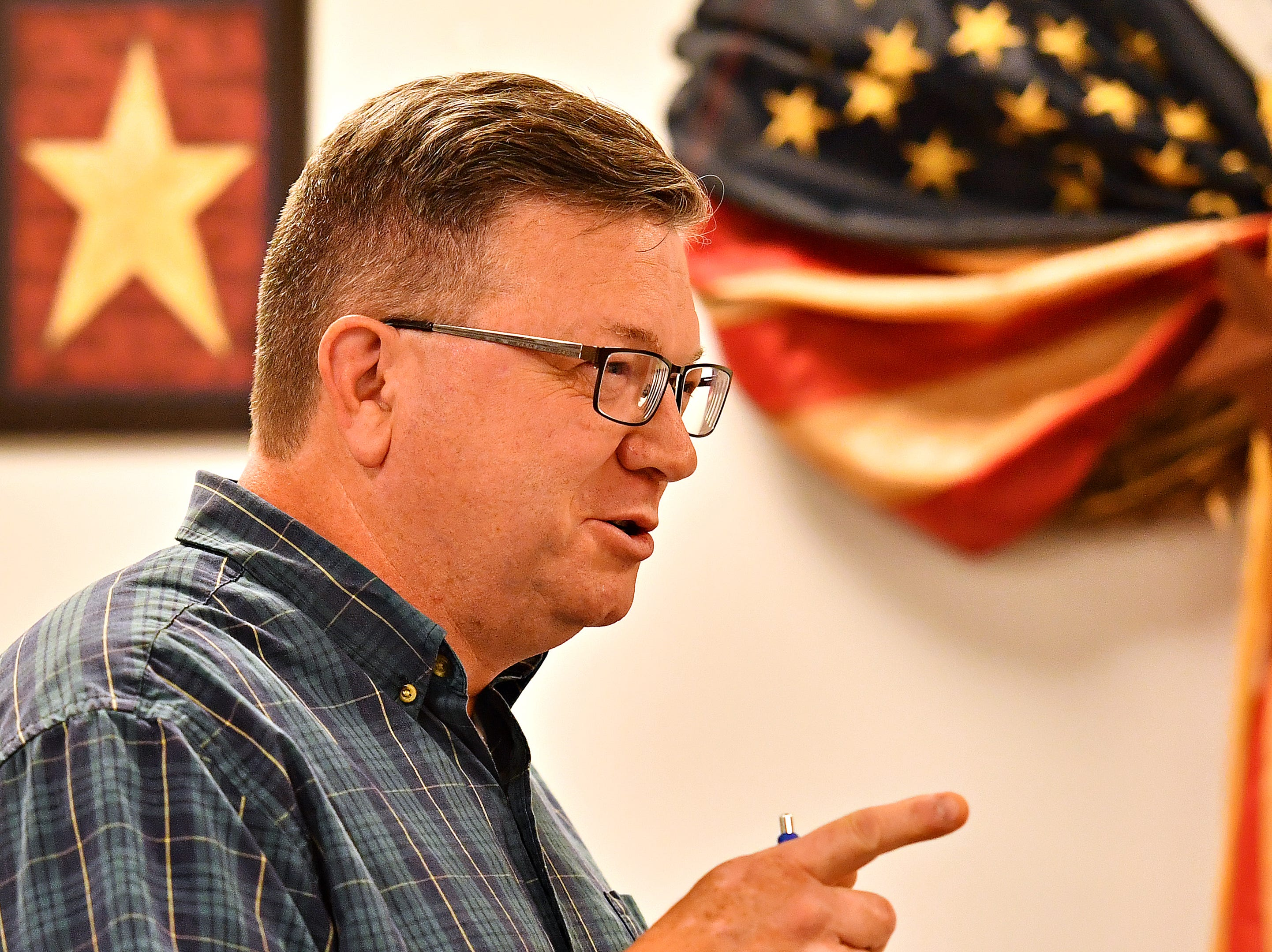 Todd Zeigler, of North Codorus Township, speaks during public comment at the Southwestern Regional Police Department's monthly board meeting at the station in Heidelberg Township, Wednesday, April 10, 2019. Dawn J. Sagert photo