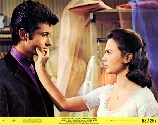 "George Chakiris and Natalie Wood star in ""West Side Story."" The movie will be shown in Spanish with English subtitles Sunday at the Capitol Theatre."