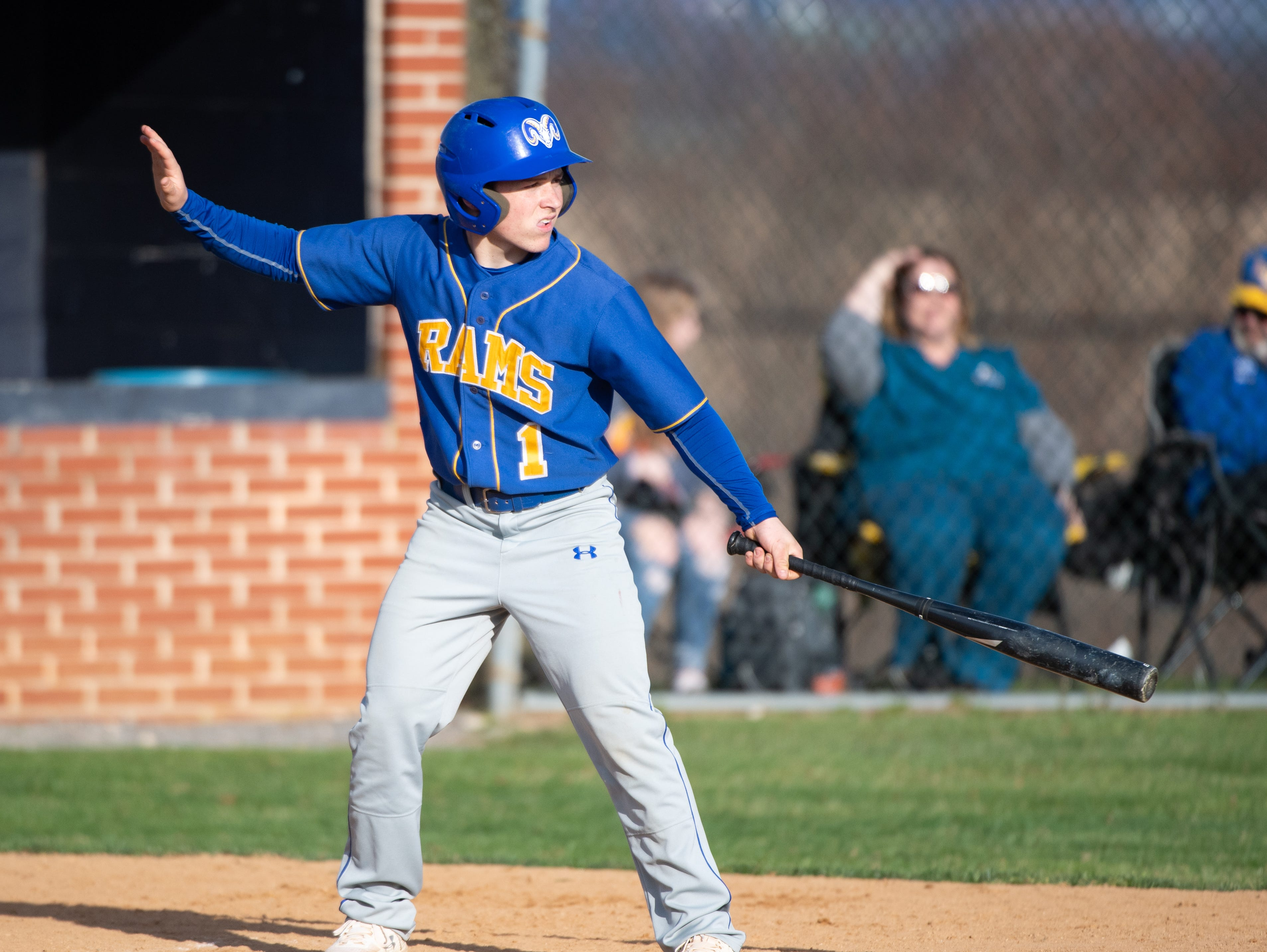 Max Cooper (1) prepares to bat during the baseball game between Eastern York and Kennard-Dale, April 10, 2019 at Eastern York High School. The Golden Knights defeated the Rams 8 to 1.