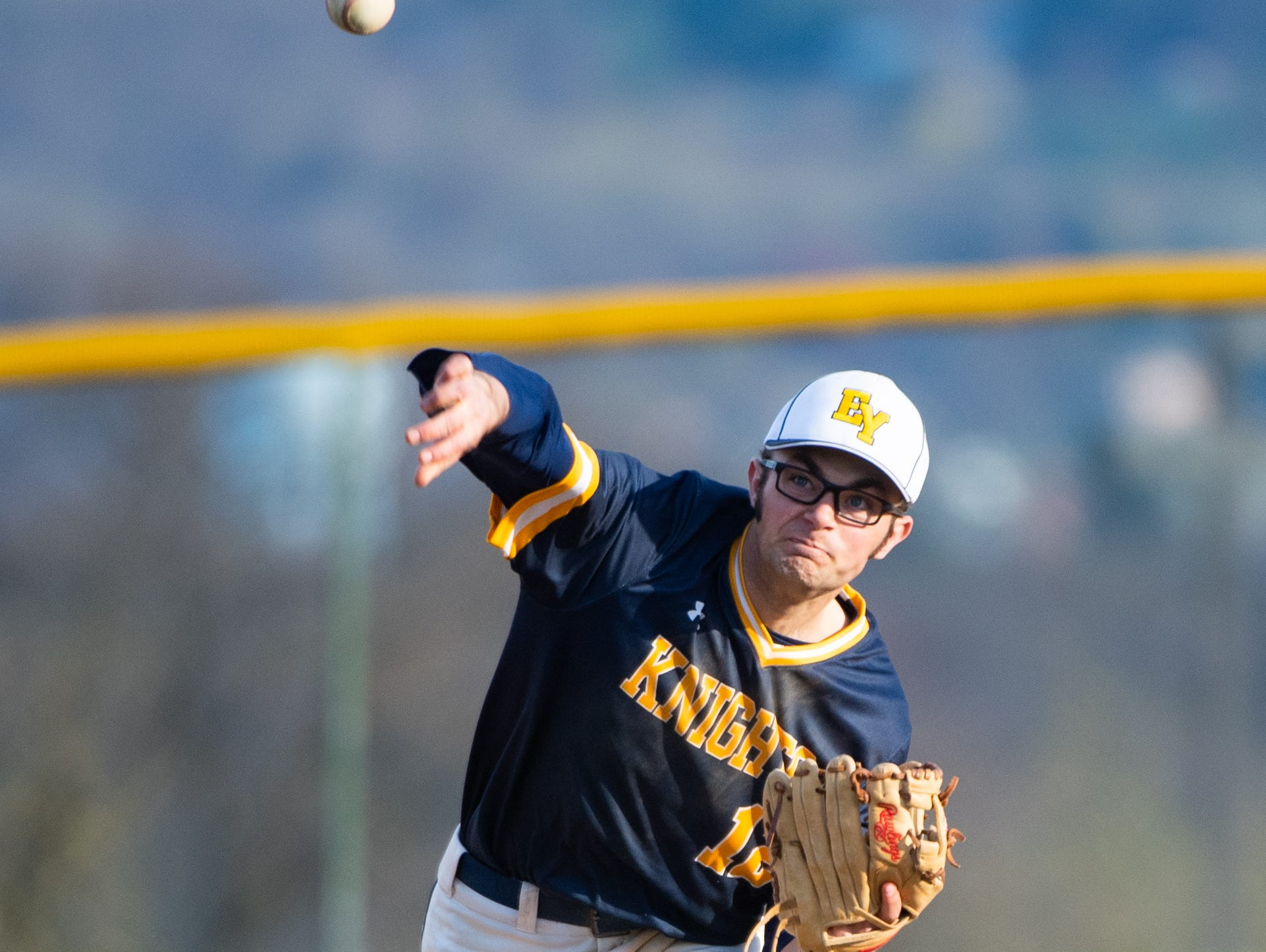 Bren Taylor (12) throws to first during the baseball game between Eastern York and Kennard-Dale, April 10, 2019 at Eastern York High School. The Golden Knights defeated the Rams 8 to 1.