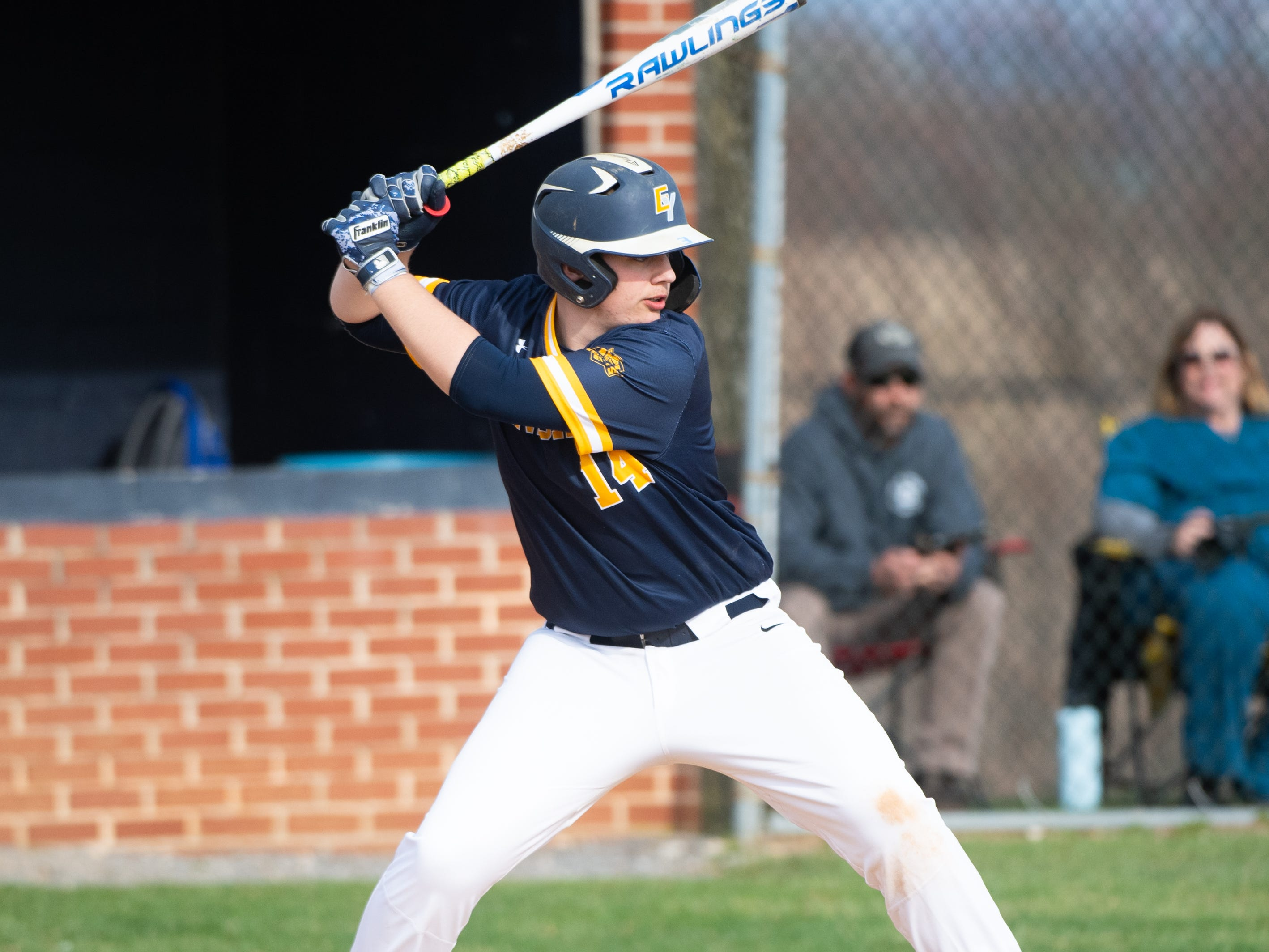 Dyson Renn (14) looks to get a hit during the baseball game between Eastern York and Kennard-Dale, April 10, 2019 at Eastern York High School. The Golden Knights defeated the Rams 8 to 1.