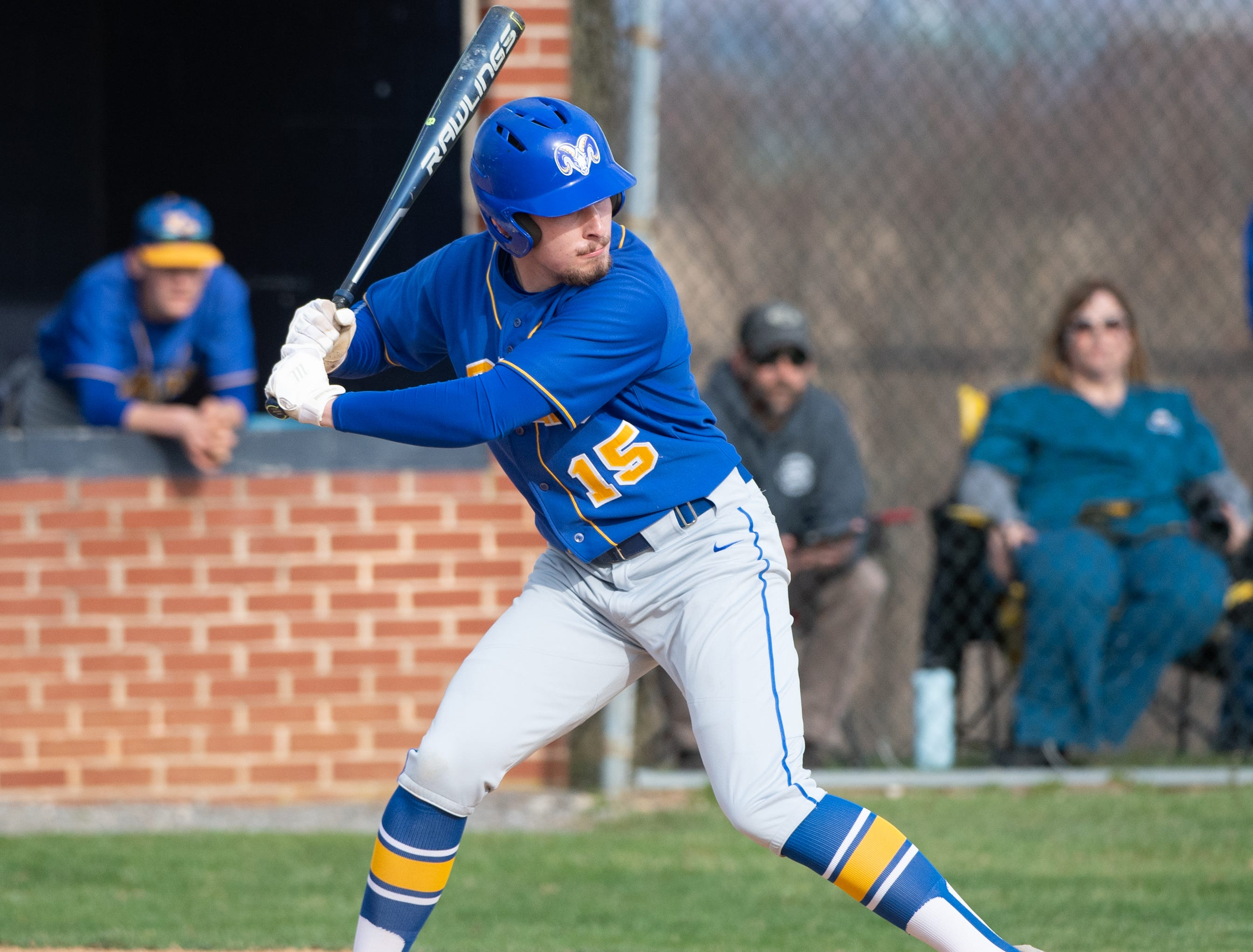 Garrett Lowe (15) gets ready to swing during the baseball game between Eastern York and Kennard-Dale, April 10, 2019 at Eastern York High School. The Golden Knights defeated the Rams 8 to 1.