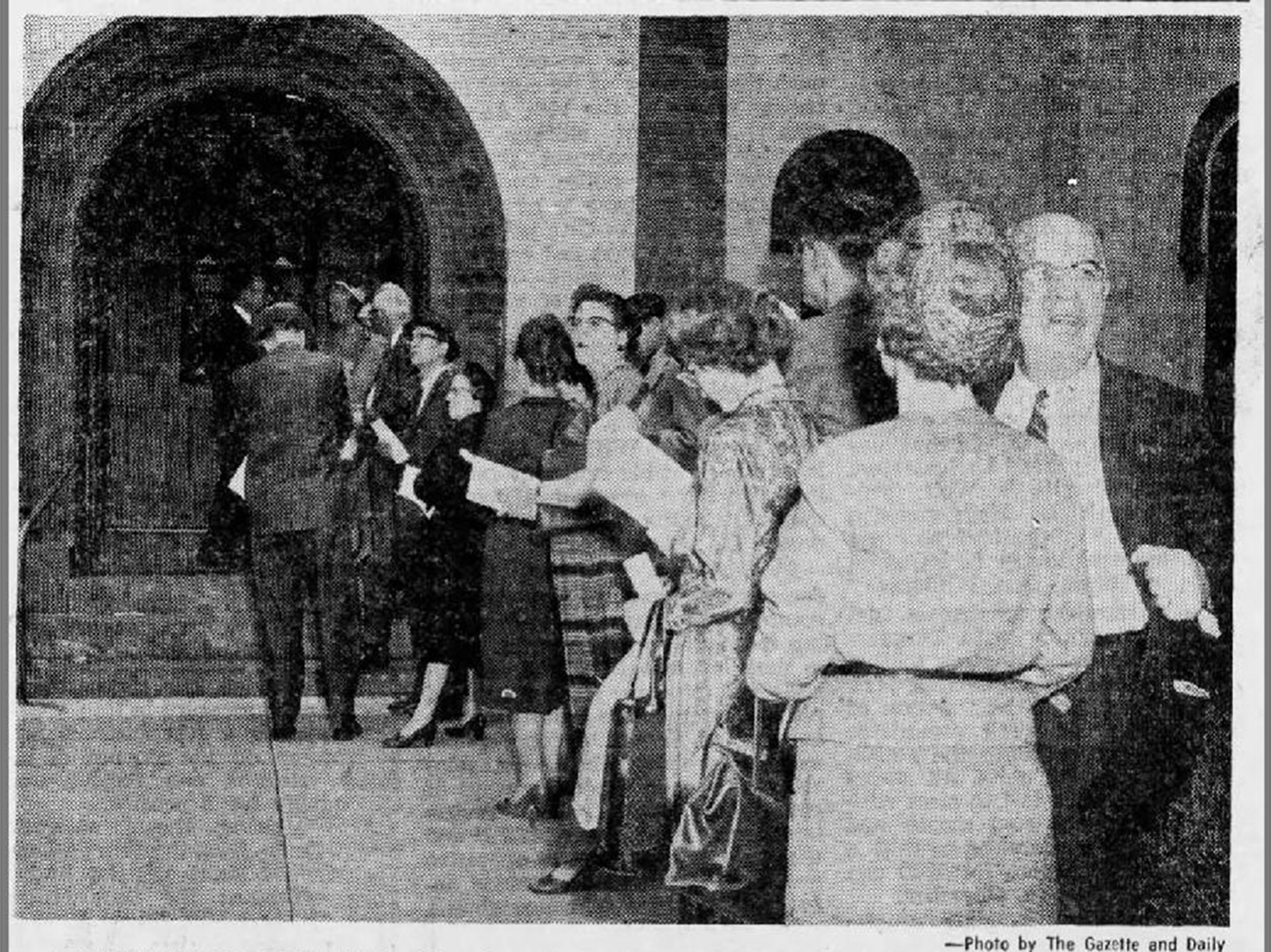A photo from the Gazette and Daily, April 16, 1960.