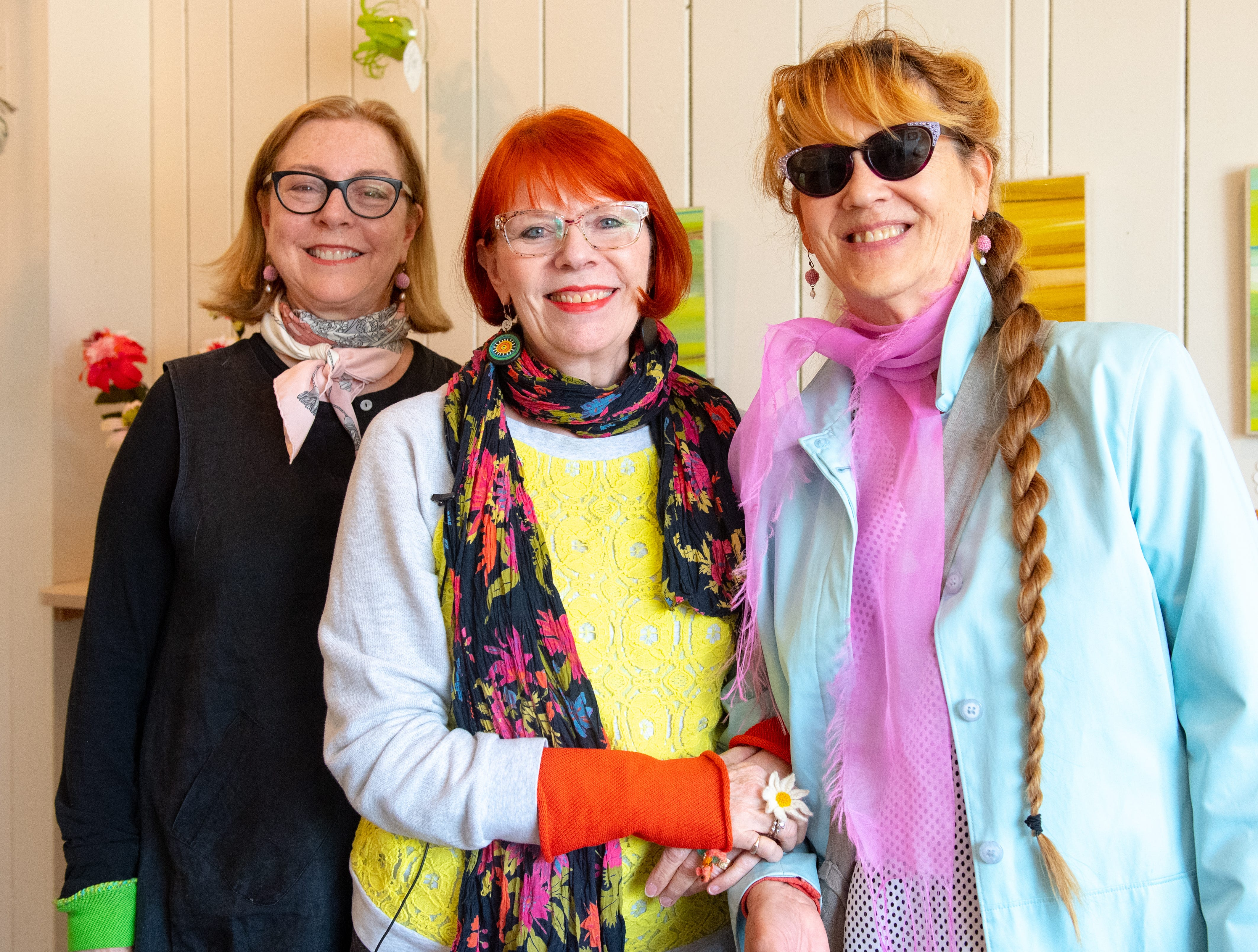 Venture is the brain child of long-time friends (left to right) JoAnne Schiavone, Susan McDaniel and Karen Paust. Many of their crafts line the walls of the building, April 11, 2019.