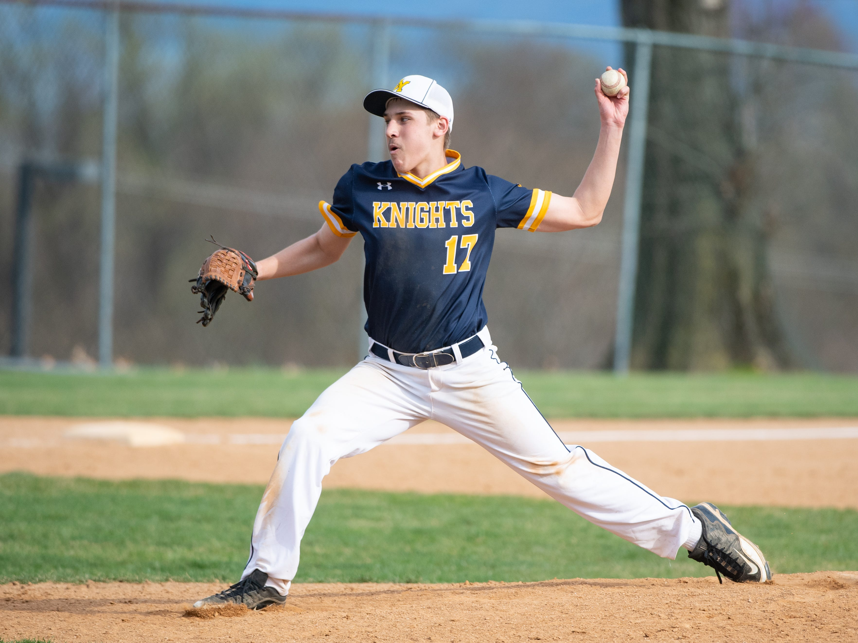 Evan Rishell (17) pitches during the baseball game between Eastern York and Kennard-Dale, April 10, 2019 at Eastern York High School. The Golden Knights defeated the Rams 8 to 1.