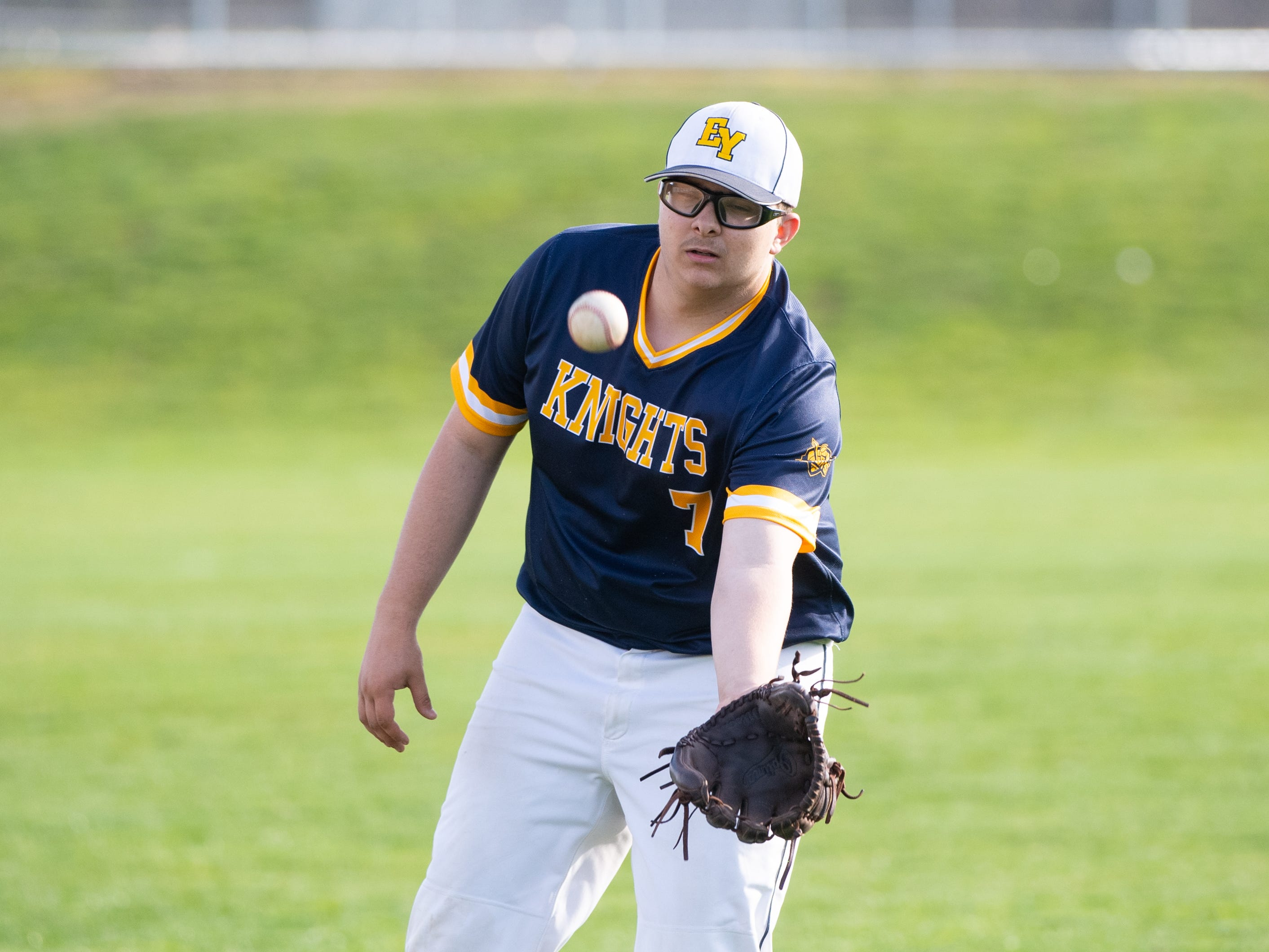 Quinton McNew (7) catches a fly ball during the baseball game between Eastern York and Kennard-Dale, April 10, 2019 at Eastern York High School. The Golden Knights defeated the Rams 8 to 1.