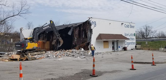 Demolition of the Case & Keg started on Thursday to make way for a new interchange at the Shrewsbury exit of Interstate 83. By the end of the day, the building was down.