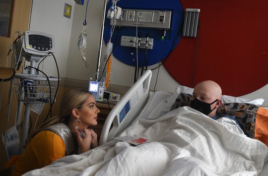 The reigning Miss USA Sarah Rose Summers, of Nebraska, visits with Jayden Wassmuth at the Renown Children's Hospital in Reno on April 11, 2019. Summers works as a child life specialist.