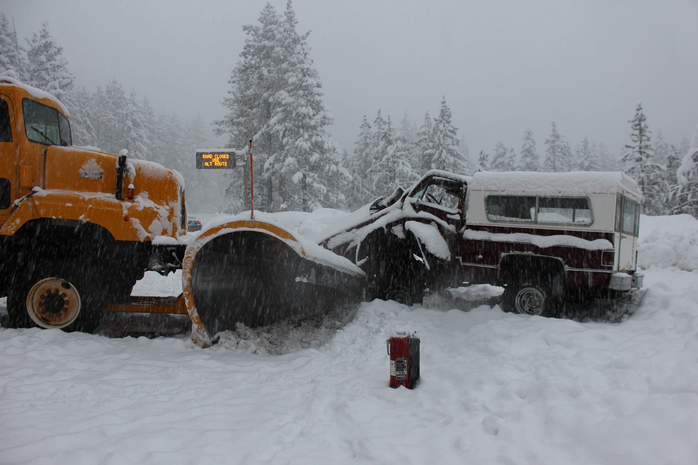 The plow struck McMahon's truck near head-on, with the driver's side taking the brunt of the impact.
