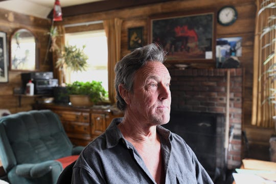 Alan McMahon, 62, inside his Kings Beach home near Lake Tahoe on April 1, 2019. McMahon lost his left leg below the knee in 2018 to a Nevada Department of Transportation snowplow driven by a state employee high on meth.