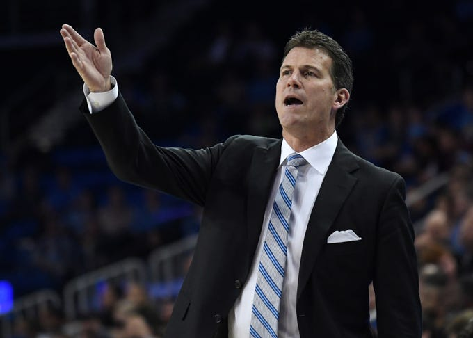 Nov 9, 2018; Los Angeles, CA, USA; UCLA Bruins coach Steve Alford reacts against the Long Beach State 49ers in the first half at Pauley Pavilion. Mandatory Credit: Kirby Lee-USA TODAY Sports