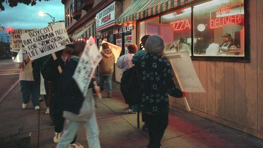 """Protesters against """"Life Without Shame"""" picket outside one of the show's sponsor in 1996."""