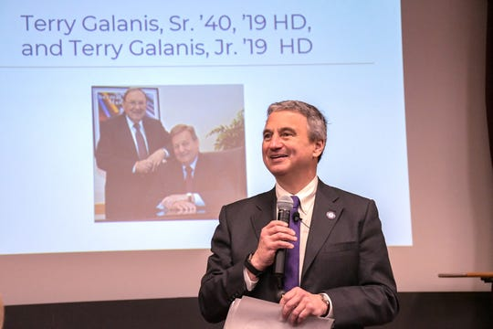 Alfred University President Mark Zupan announces $1 million gift from 101-year-old alumnus Terry Galanis.